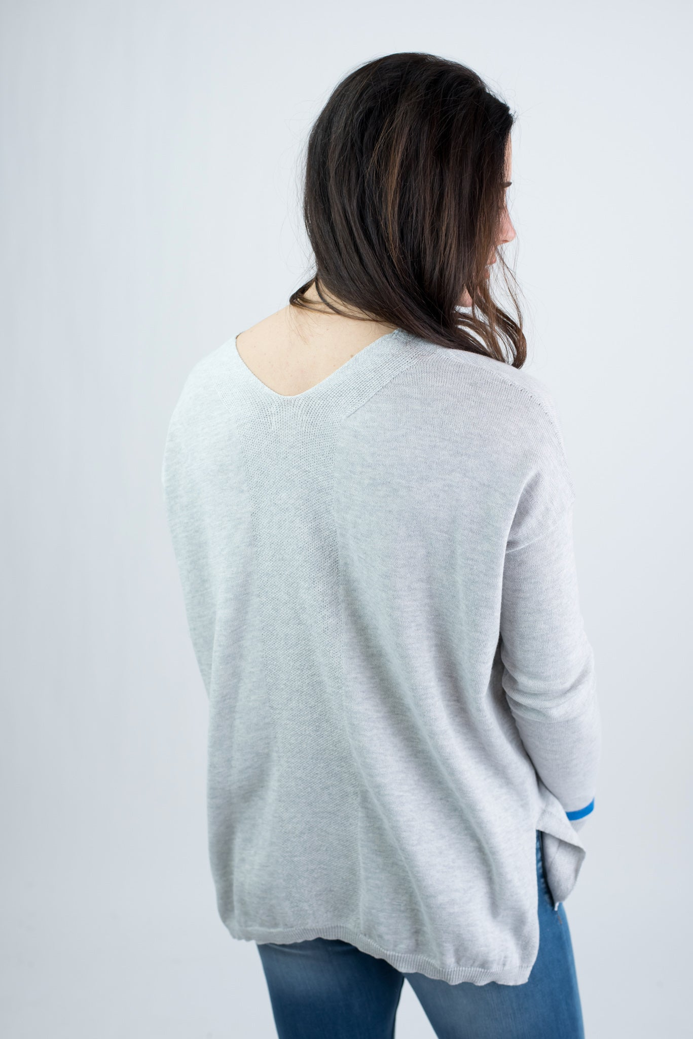 By My Side Heather Grey Sweater With Blue Cuff