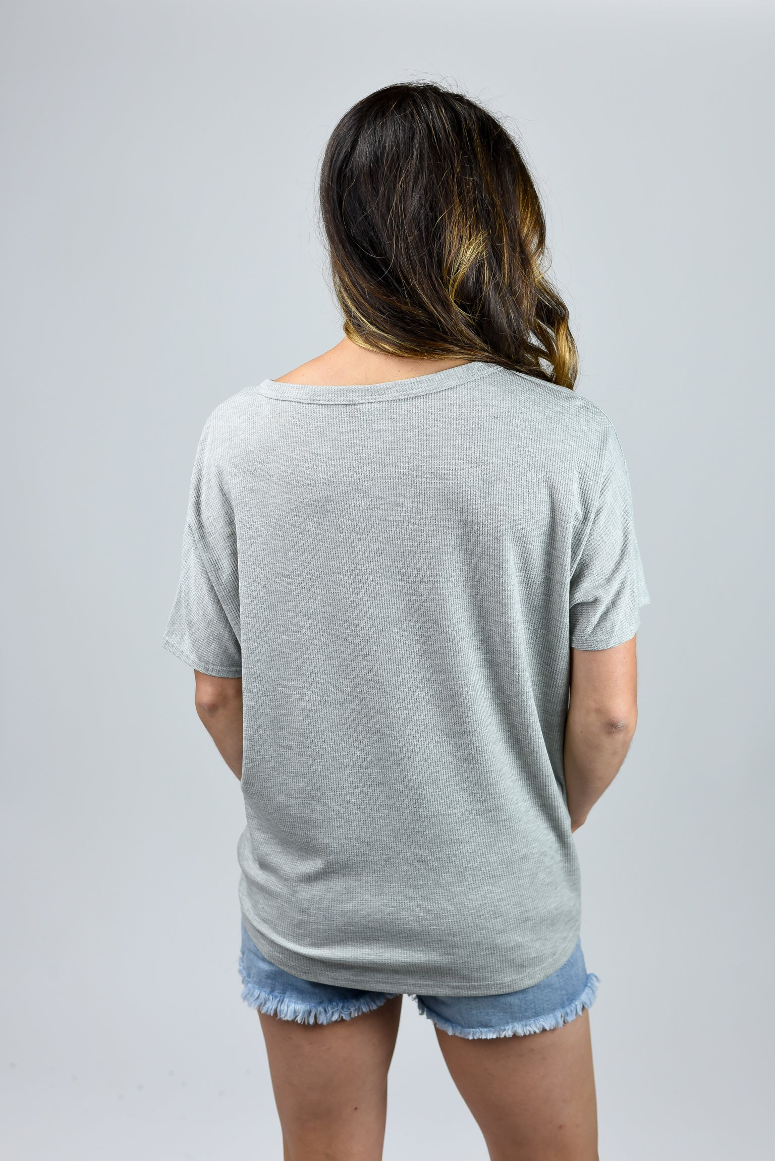 Well Traveled Front Tie Button Tee- grey