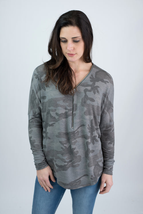 Moment Passes Grey Camo 1/2 Zip Long Sleeve