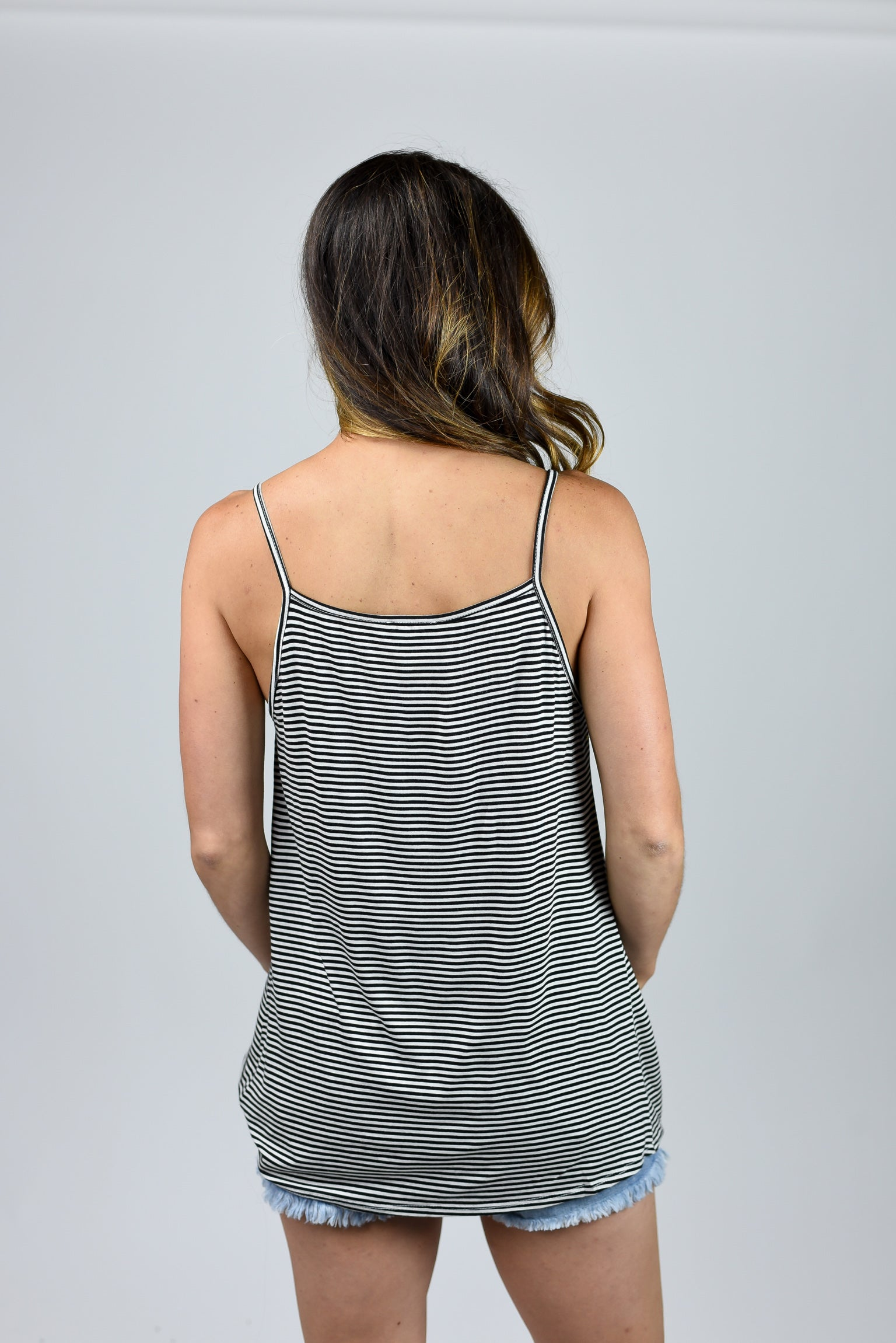 Clearly It's Love Stripe Black and White Front Knot Tank