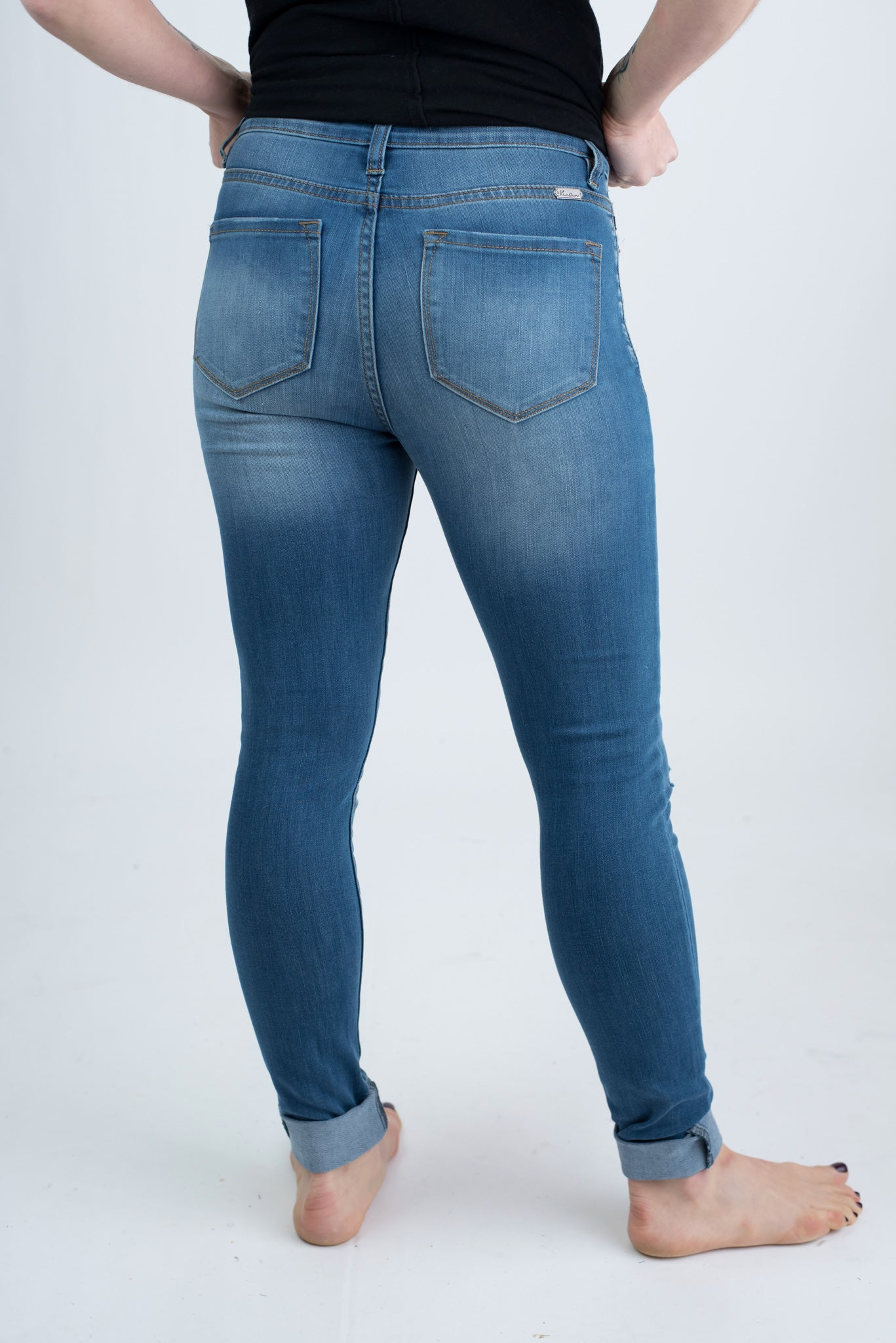 The Right Timing Knee Slit Medium Wash Skinny Jeans