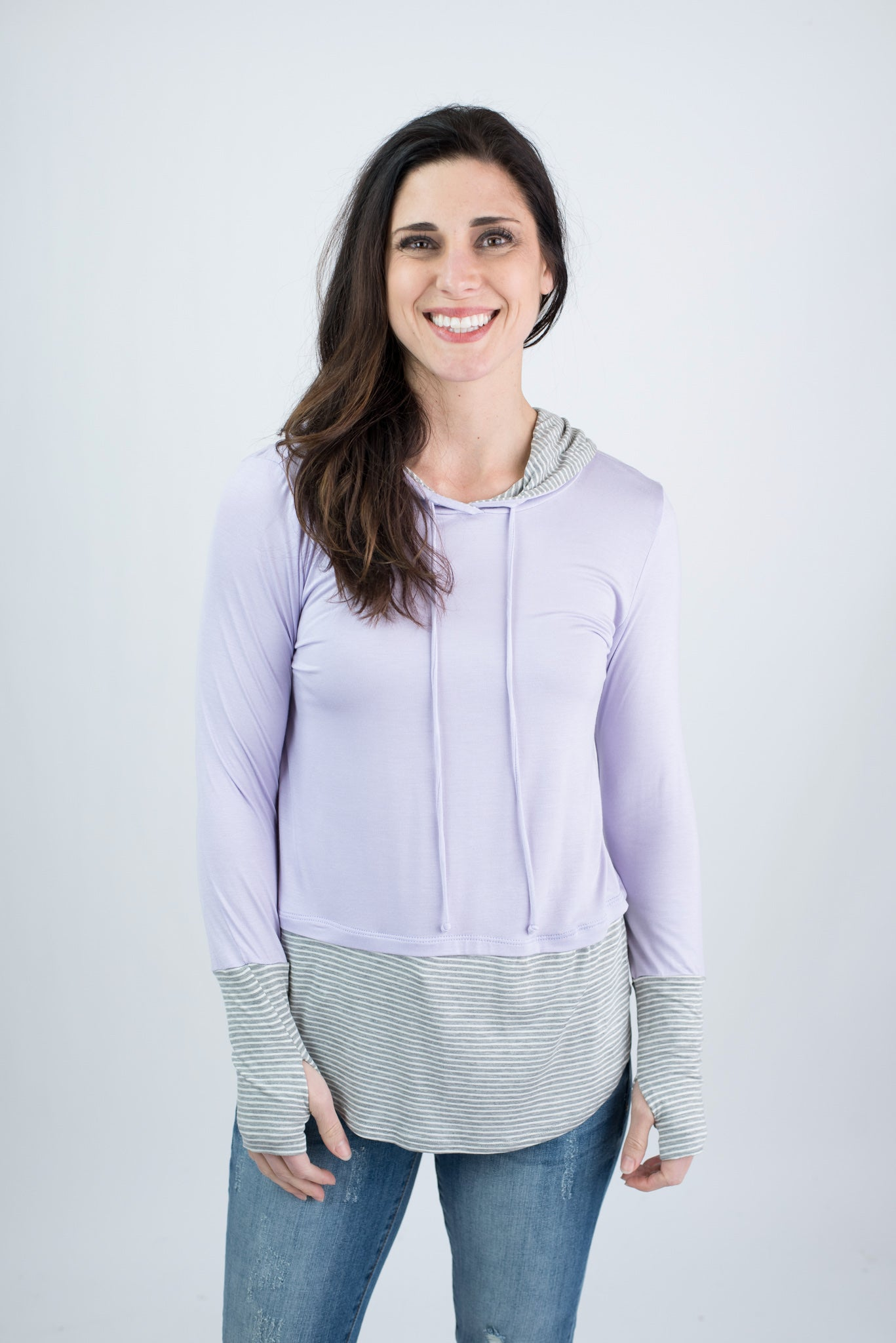 Thinking Spring Light Weight Hooded Long Sleeve- Lavender