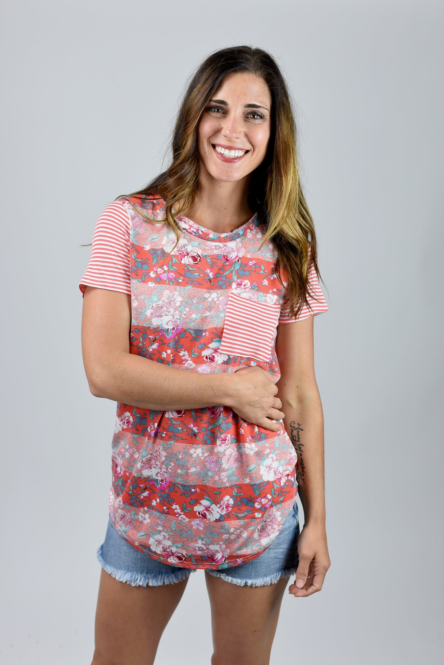 Going Going Gone Floral Pocket Tee