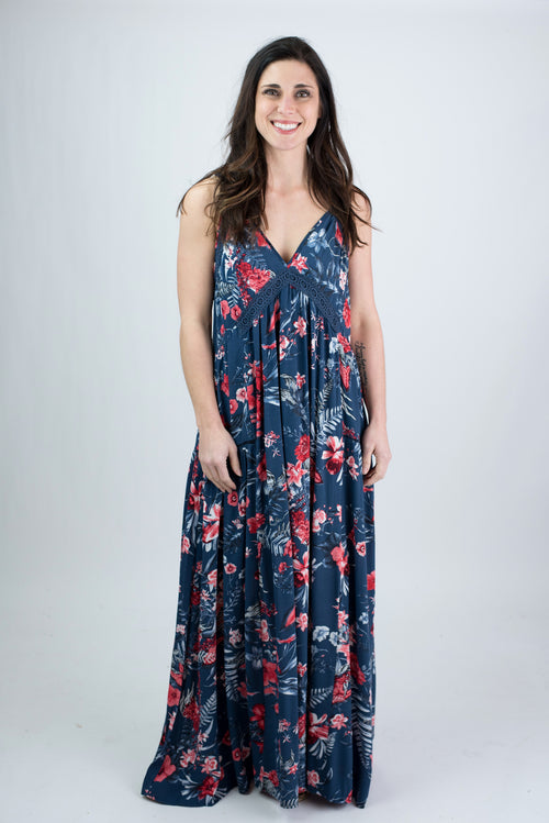 c092f2b13ef Stuck On The Beach Blue Floral Maxi Dress