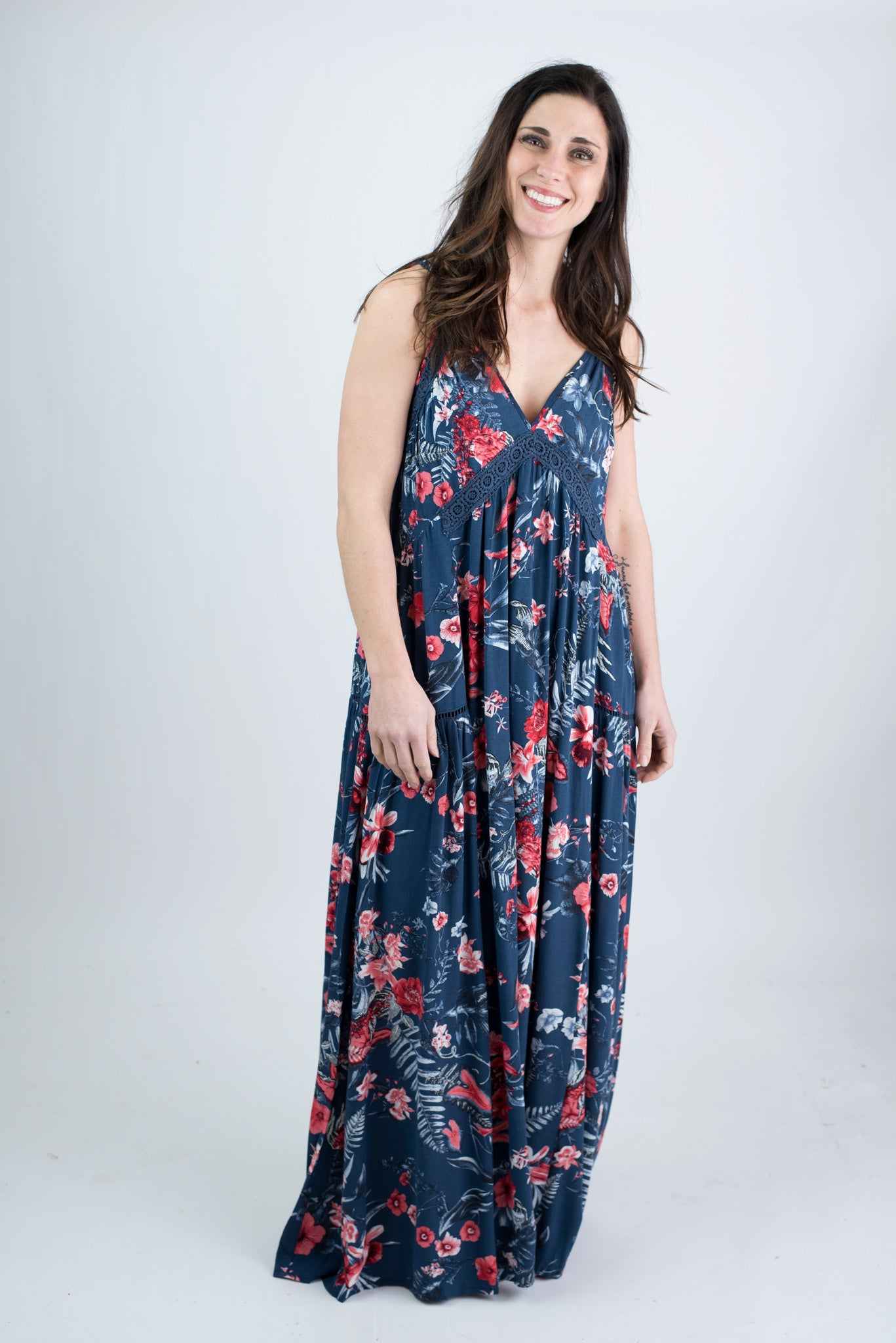 Stuck On The Beach Blue Floral Maxi Dress