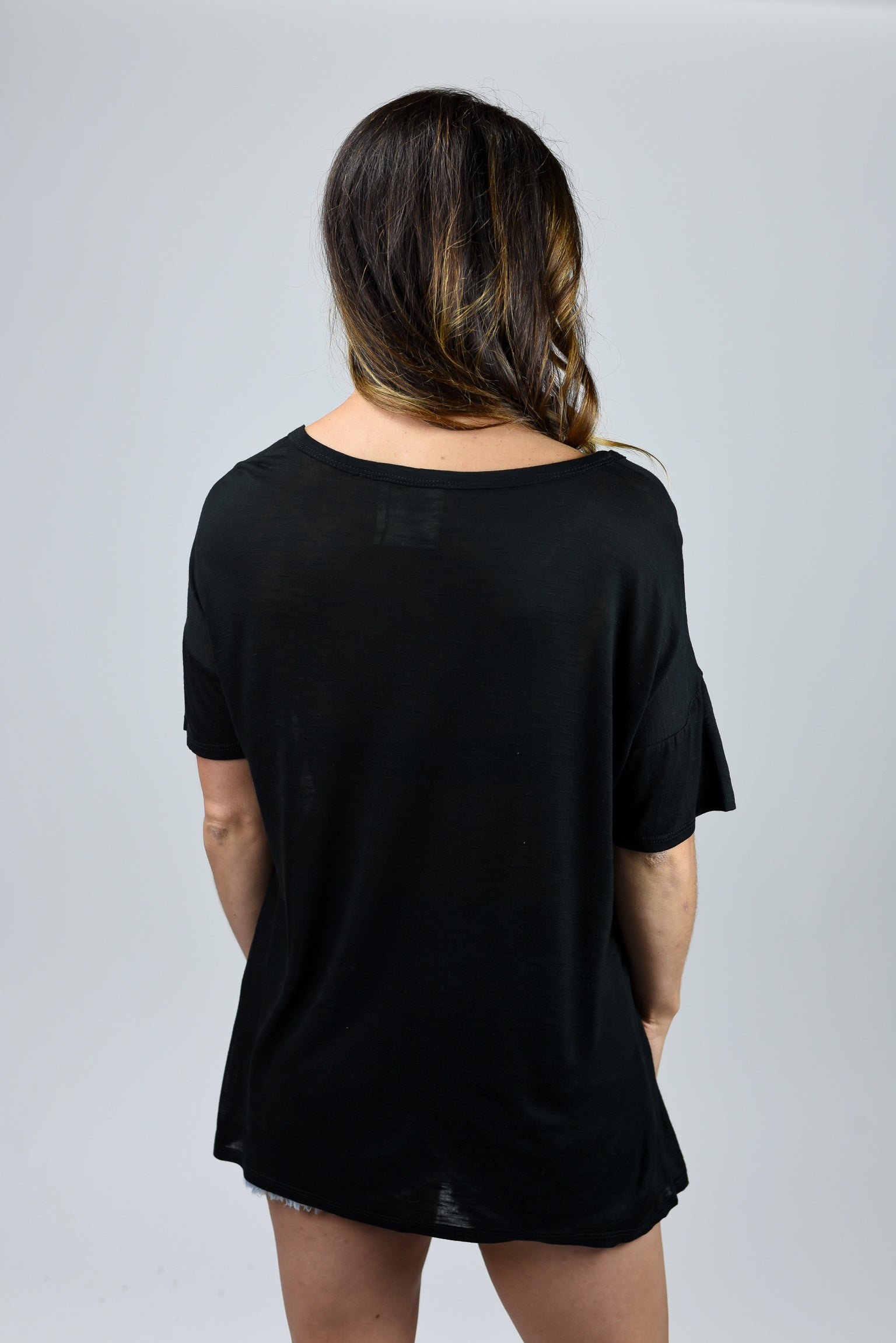 Happy Camper Black Wide Neck Tee