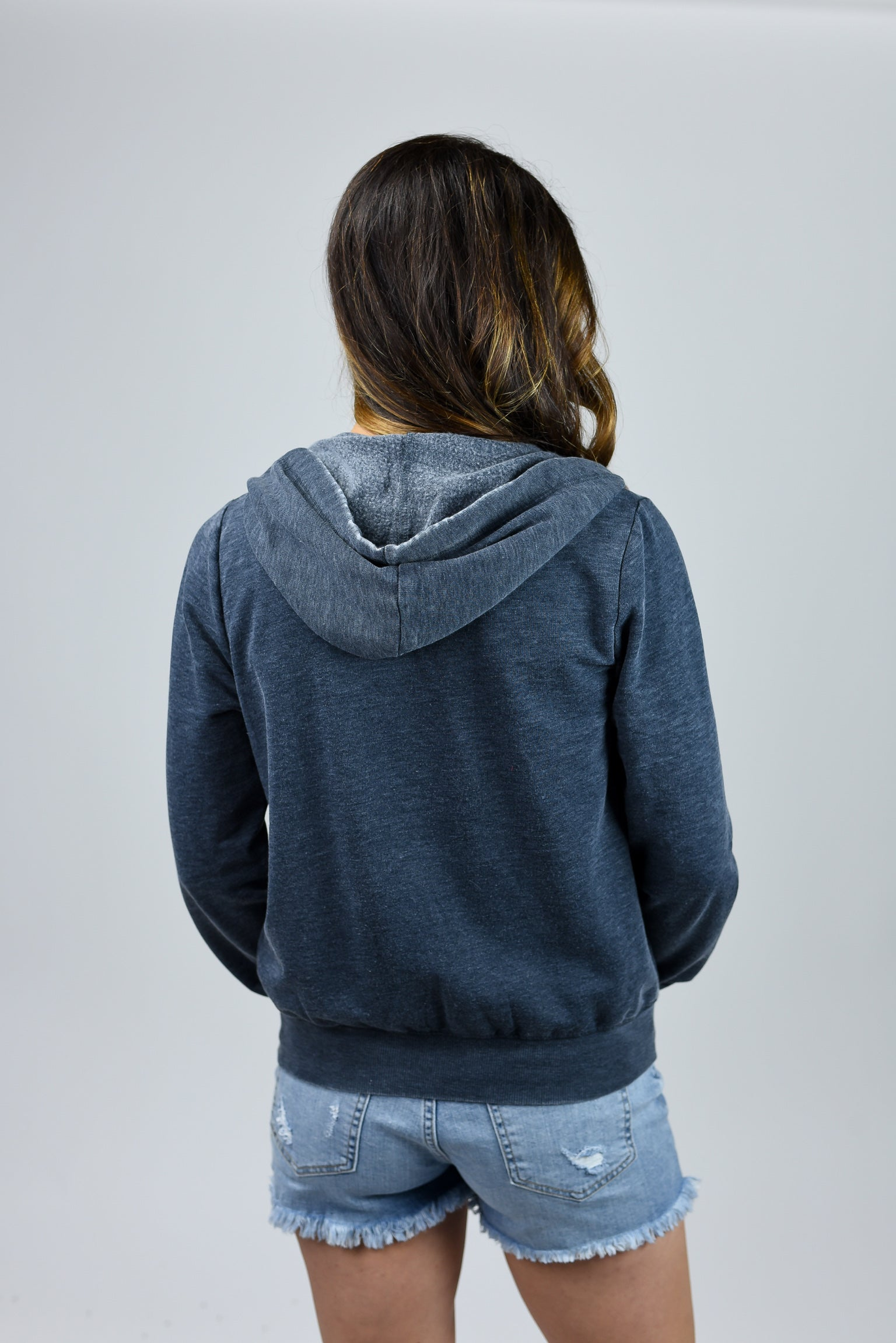 Bonfire Babe Zip Up Navy Hoodie