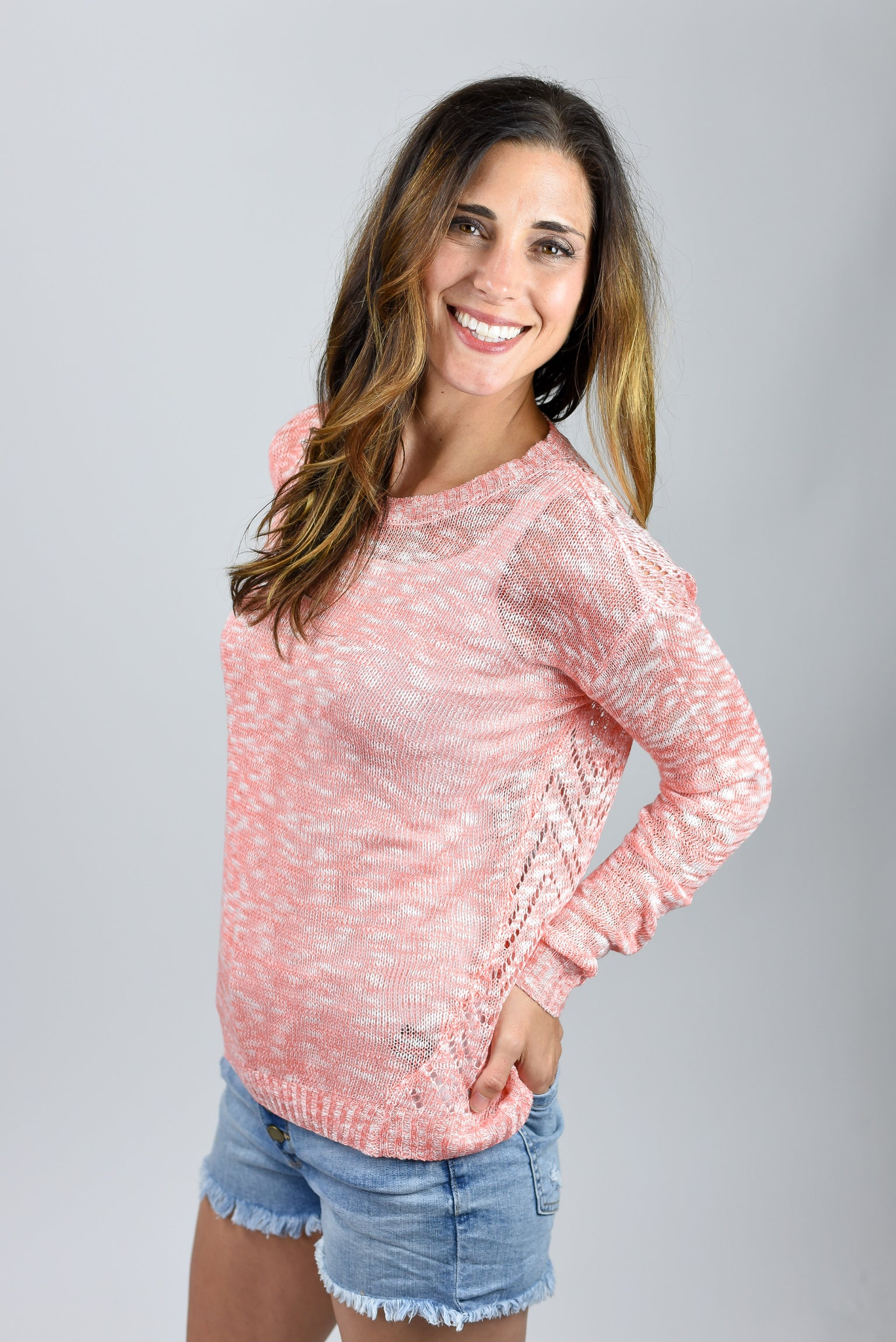End of The Day Coral Lightweight Sweater