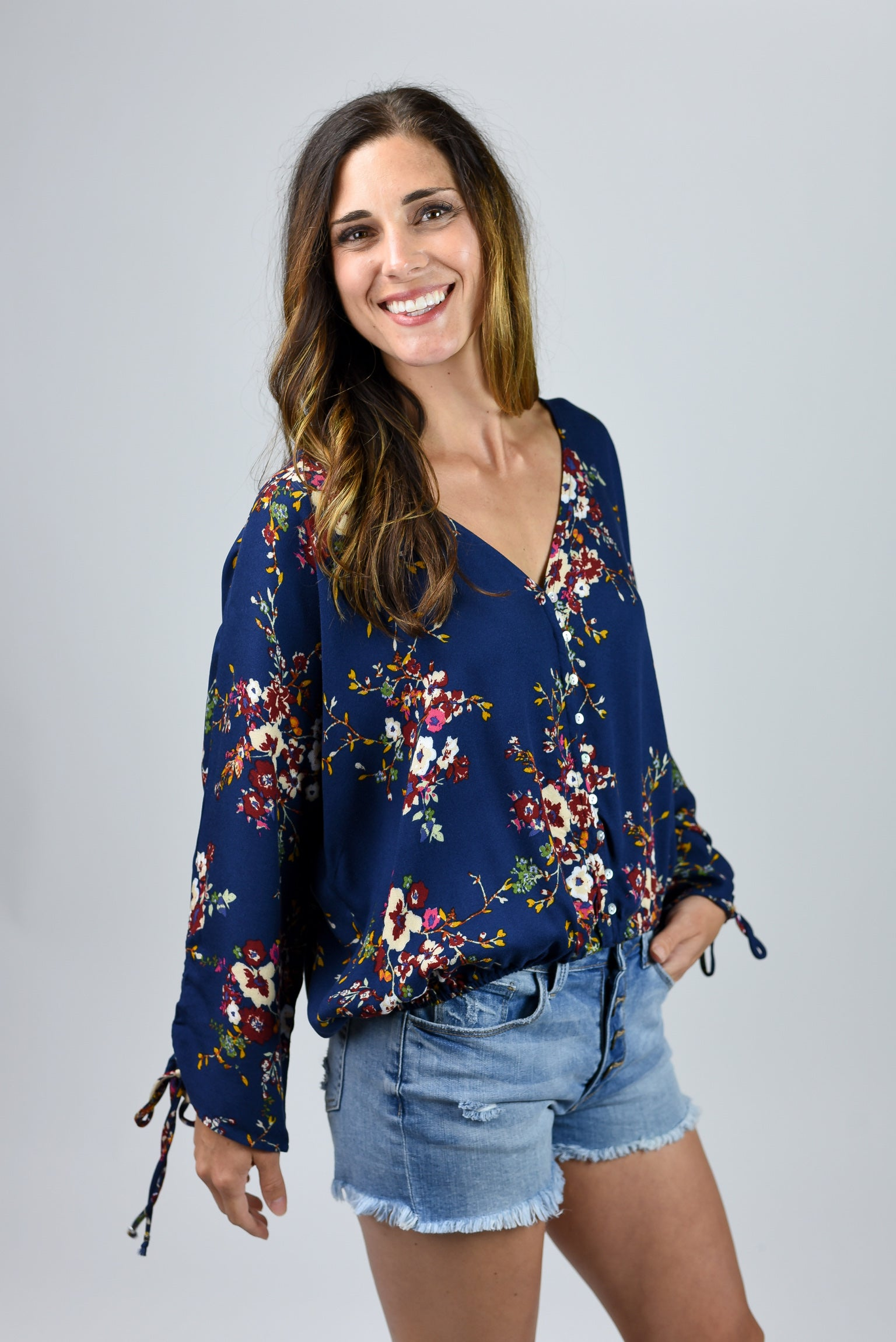 Night Time Blooms Navy Floral Top