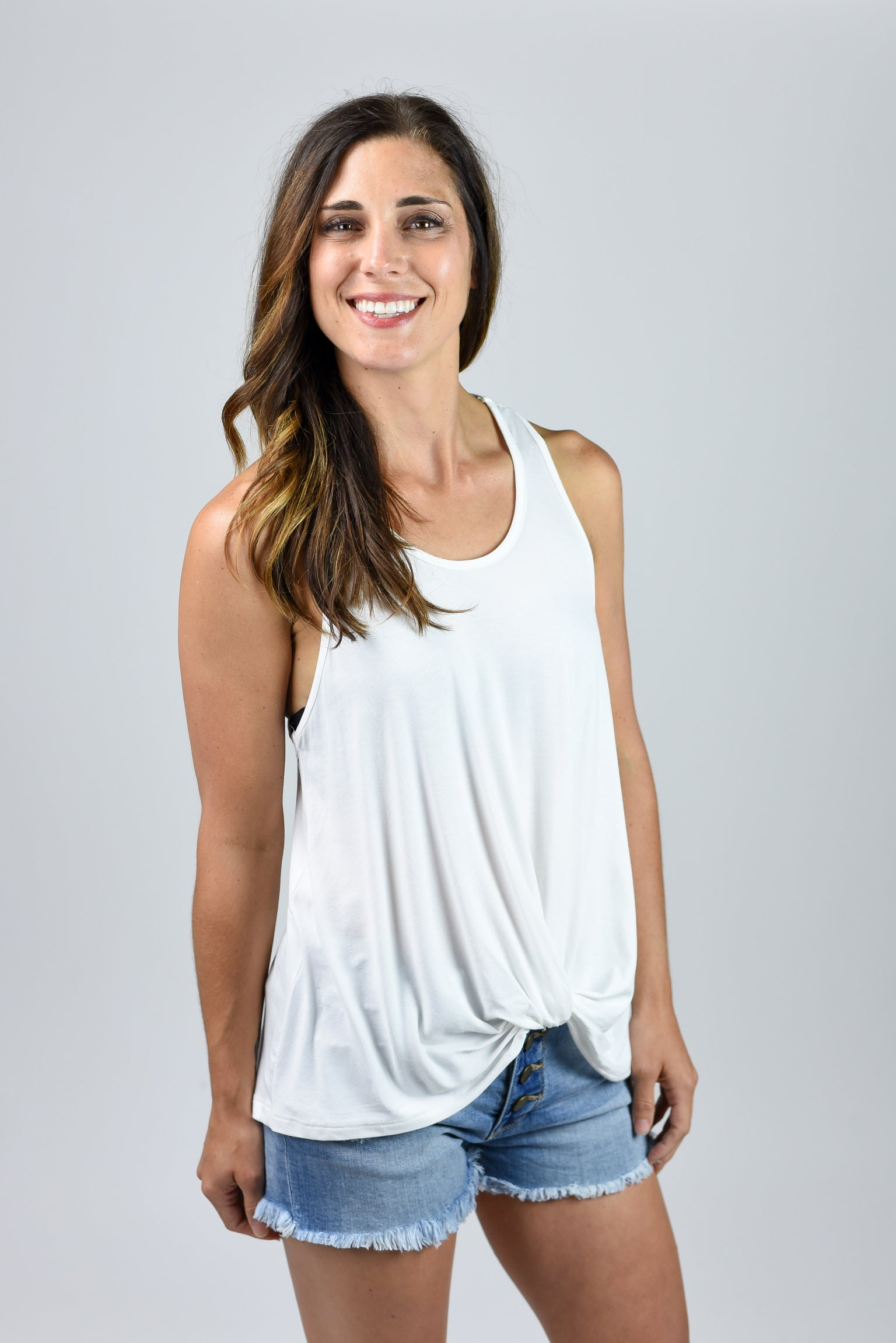 Slow Motion Front Twist Racerback Tank- White