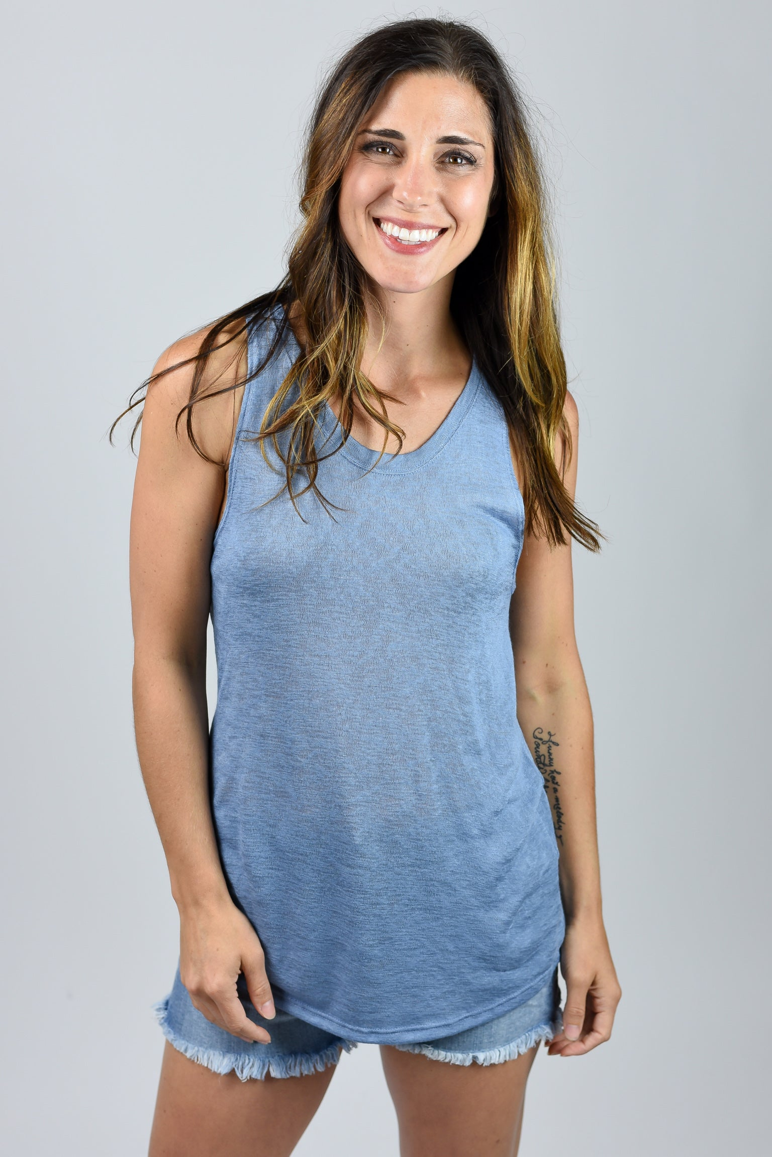 We Live For This Denim Blue Slub Tank