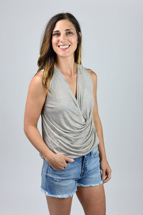 Madly In Love Drape Top- Taupe