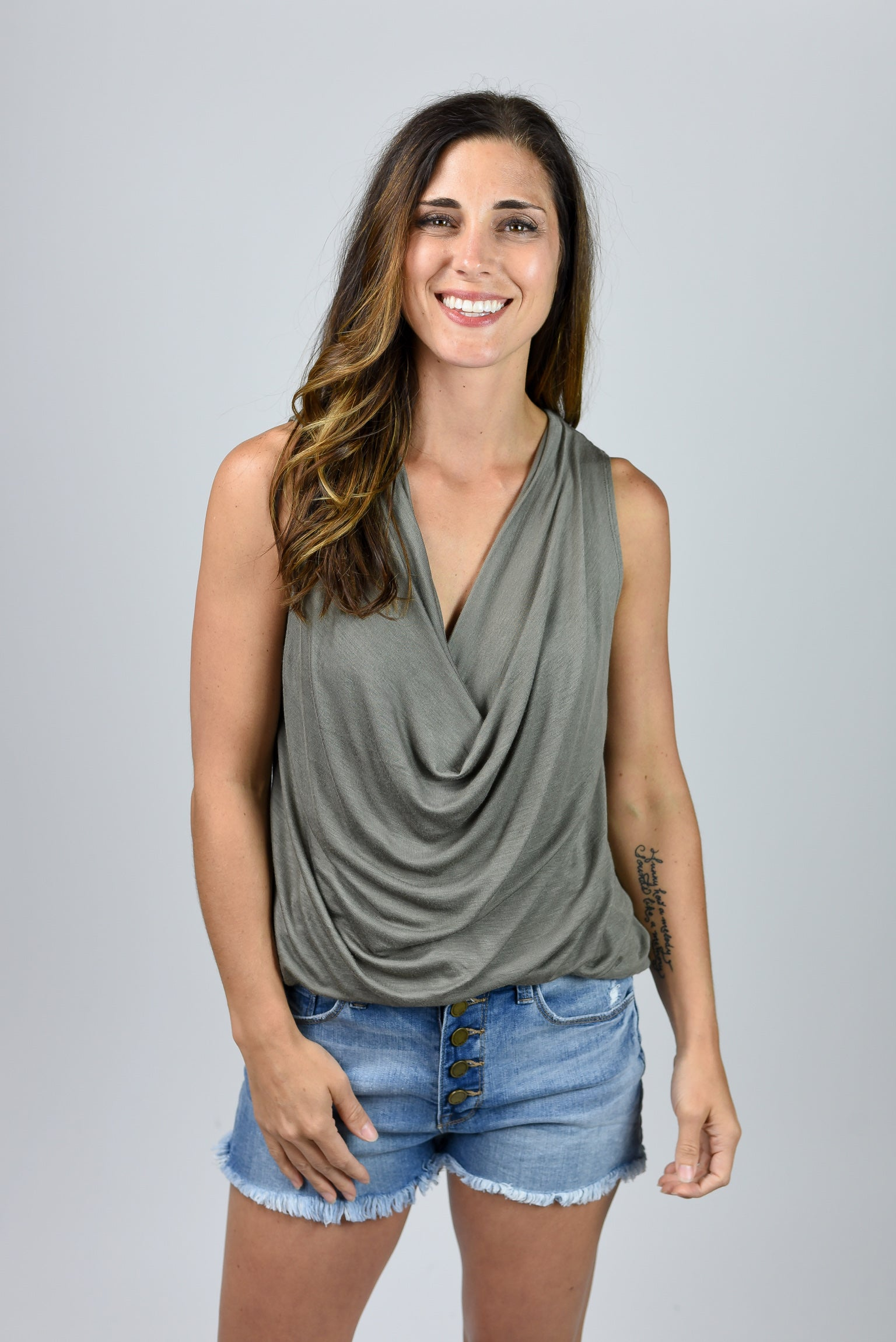 Madly In Love Drape Top- Olive