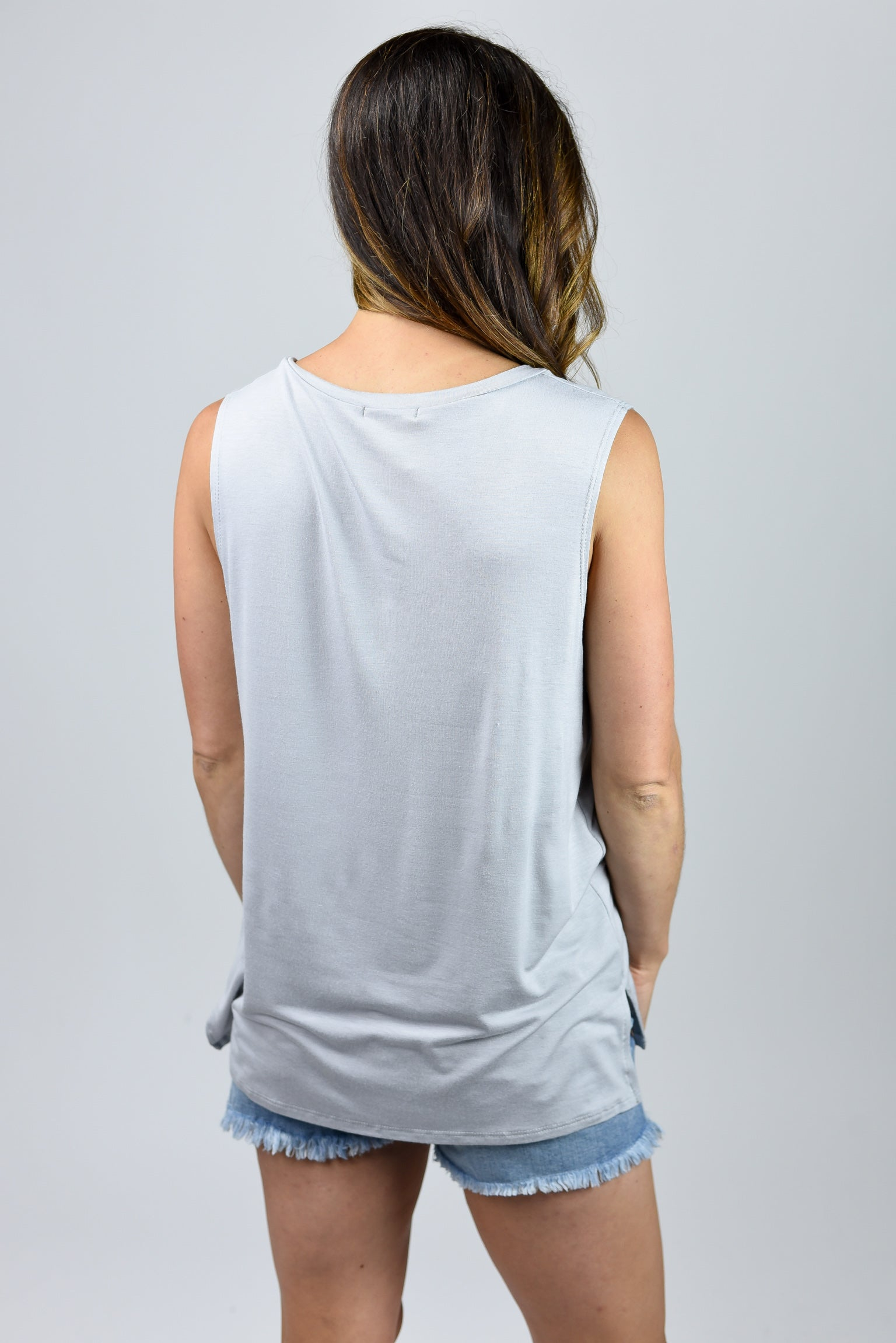 Easy Living Vneck Pocket Sleeveless Tee - Silver