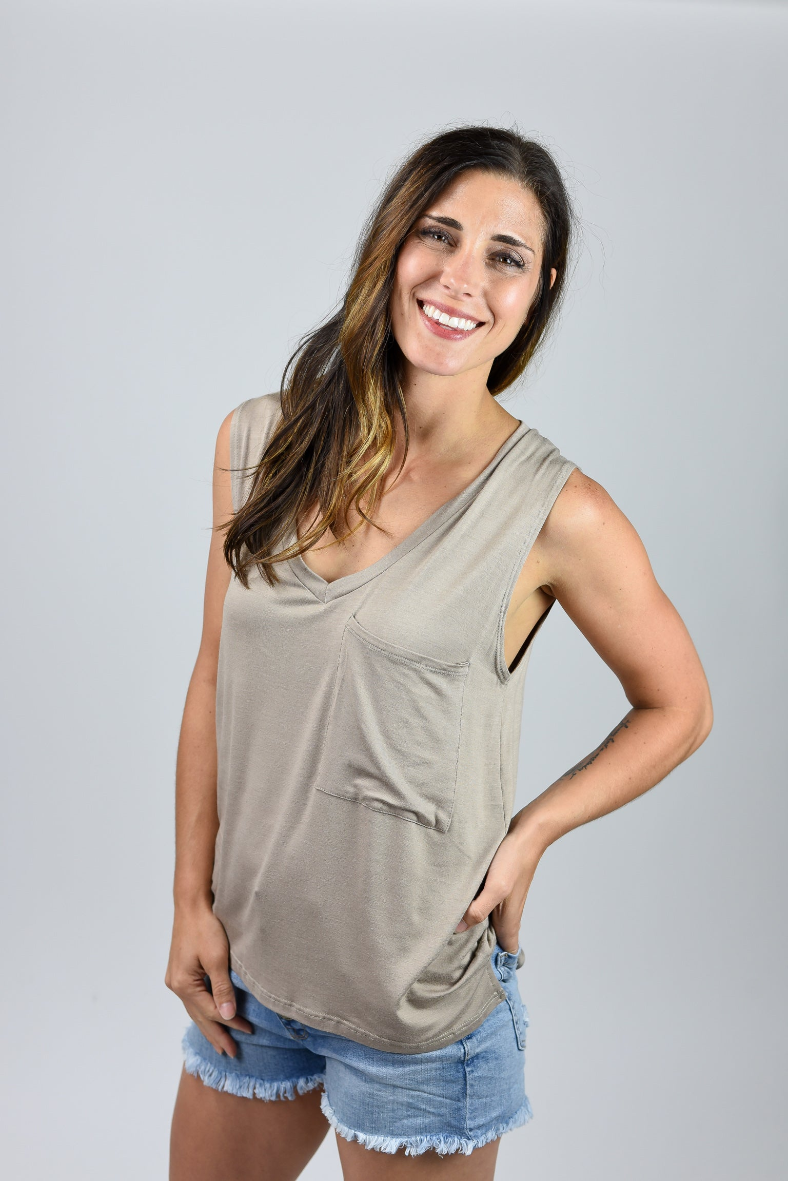 Easy Living Vneck Pocket Sleeveless Tee - Taupe