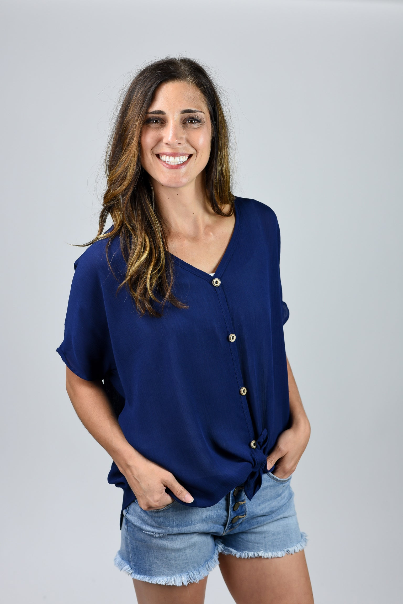 Midnight Navy Button Up Front Tie Tee