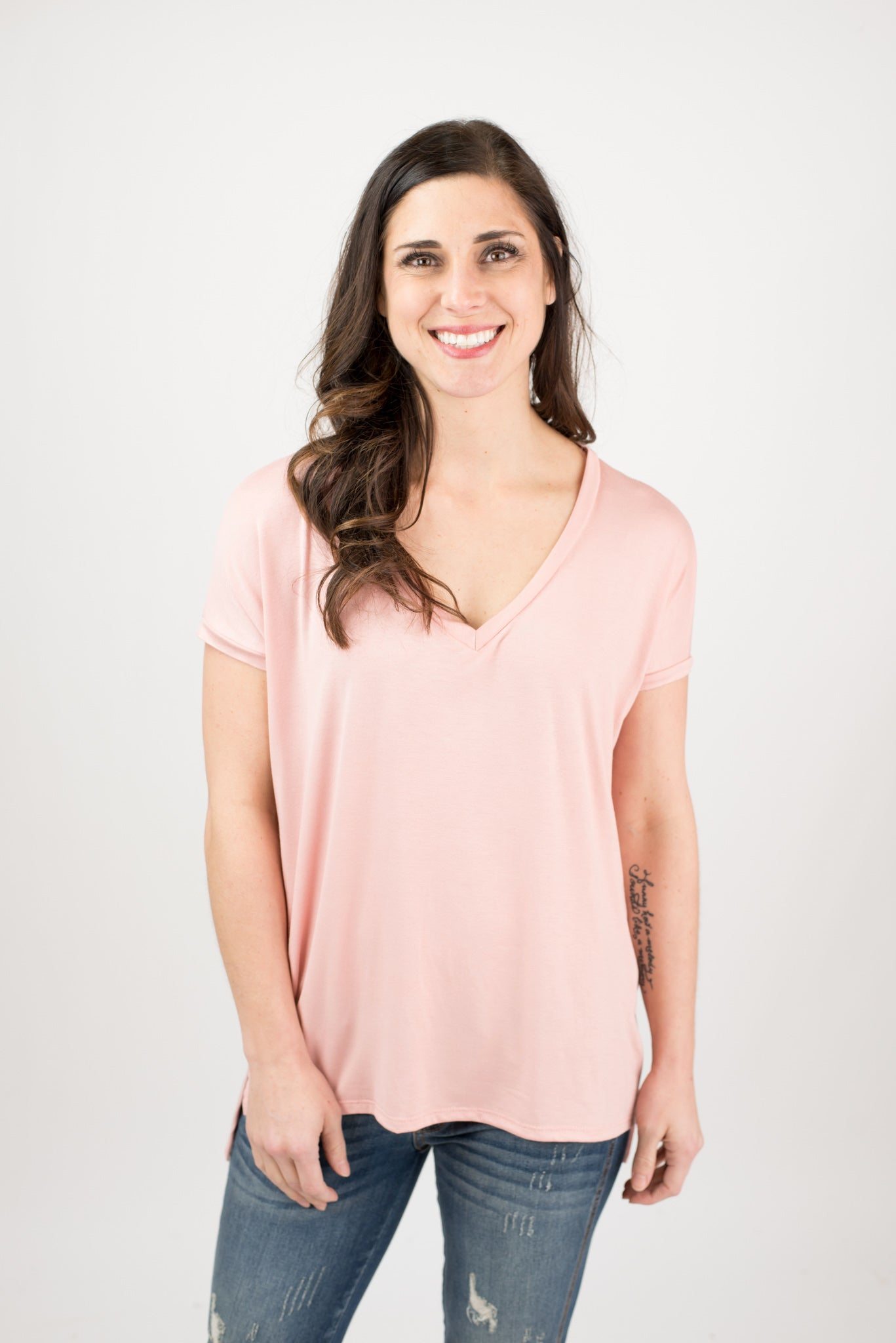 True To You Oversized V- Neck Tee - Salmon
