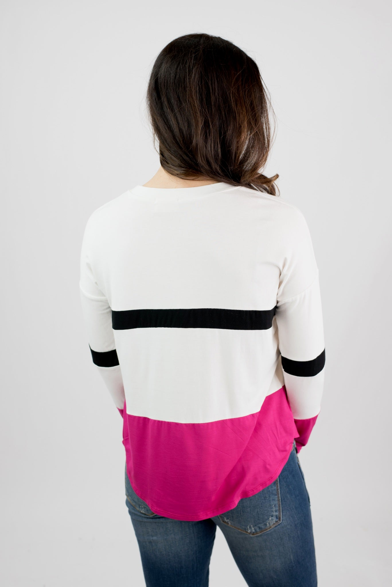 Double Scoop White and Hot Pink/Black Stripe Long Sleeve