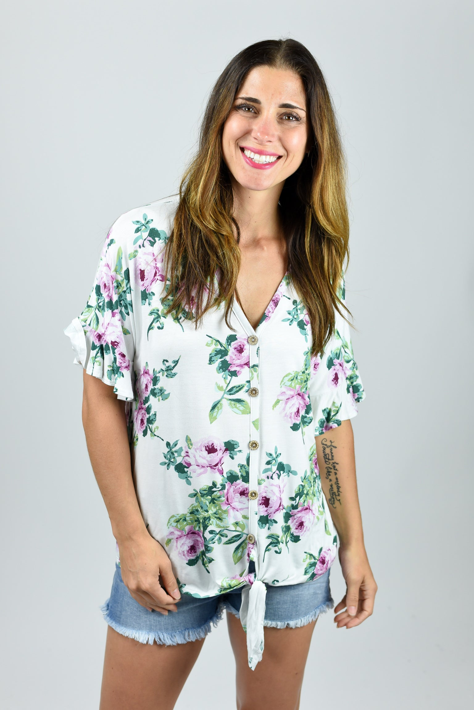 Flower Babe Ivory Floral Button Down Top