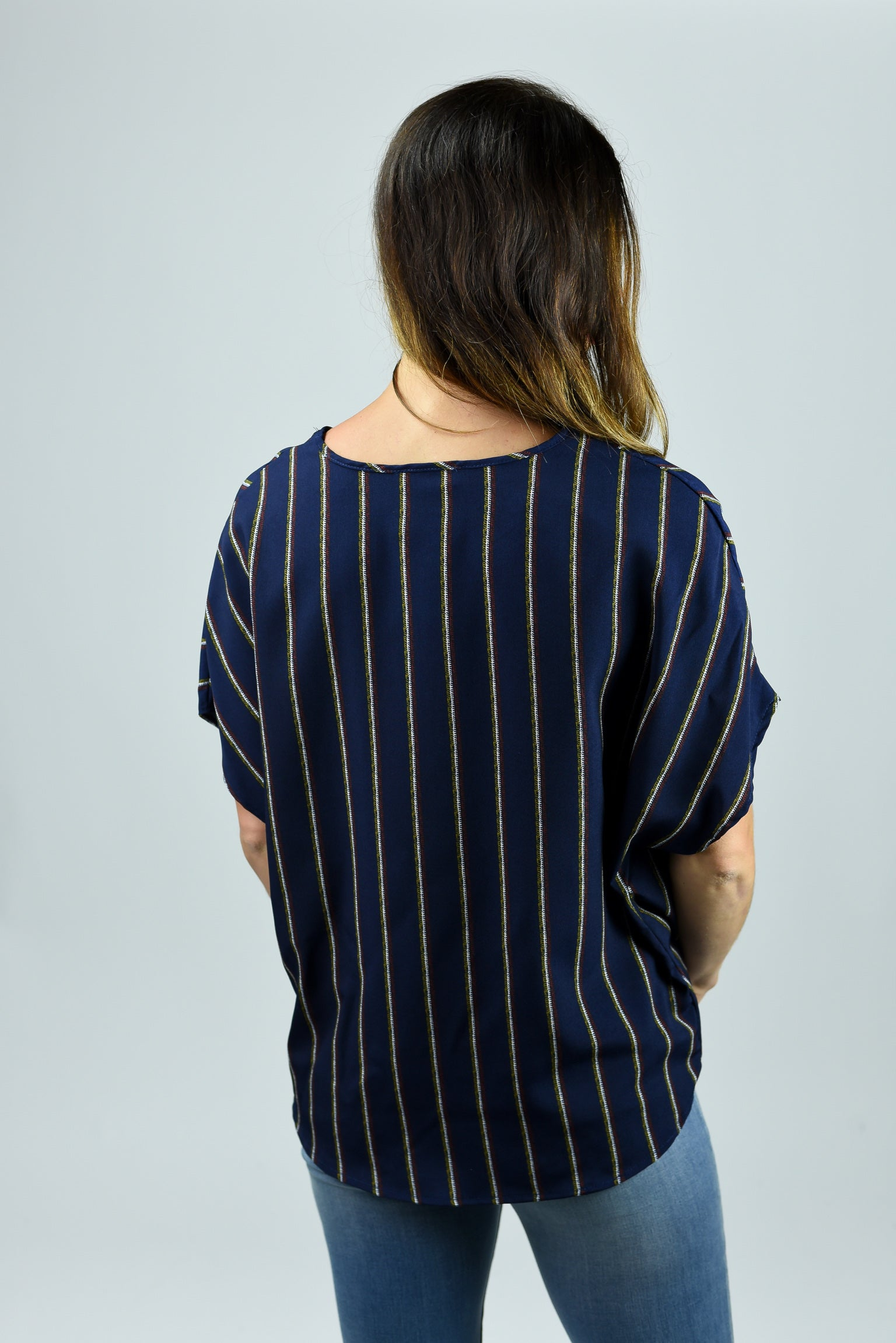 Next In Line Navy Striped Top