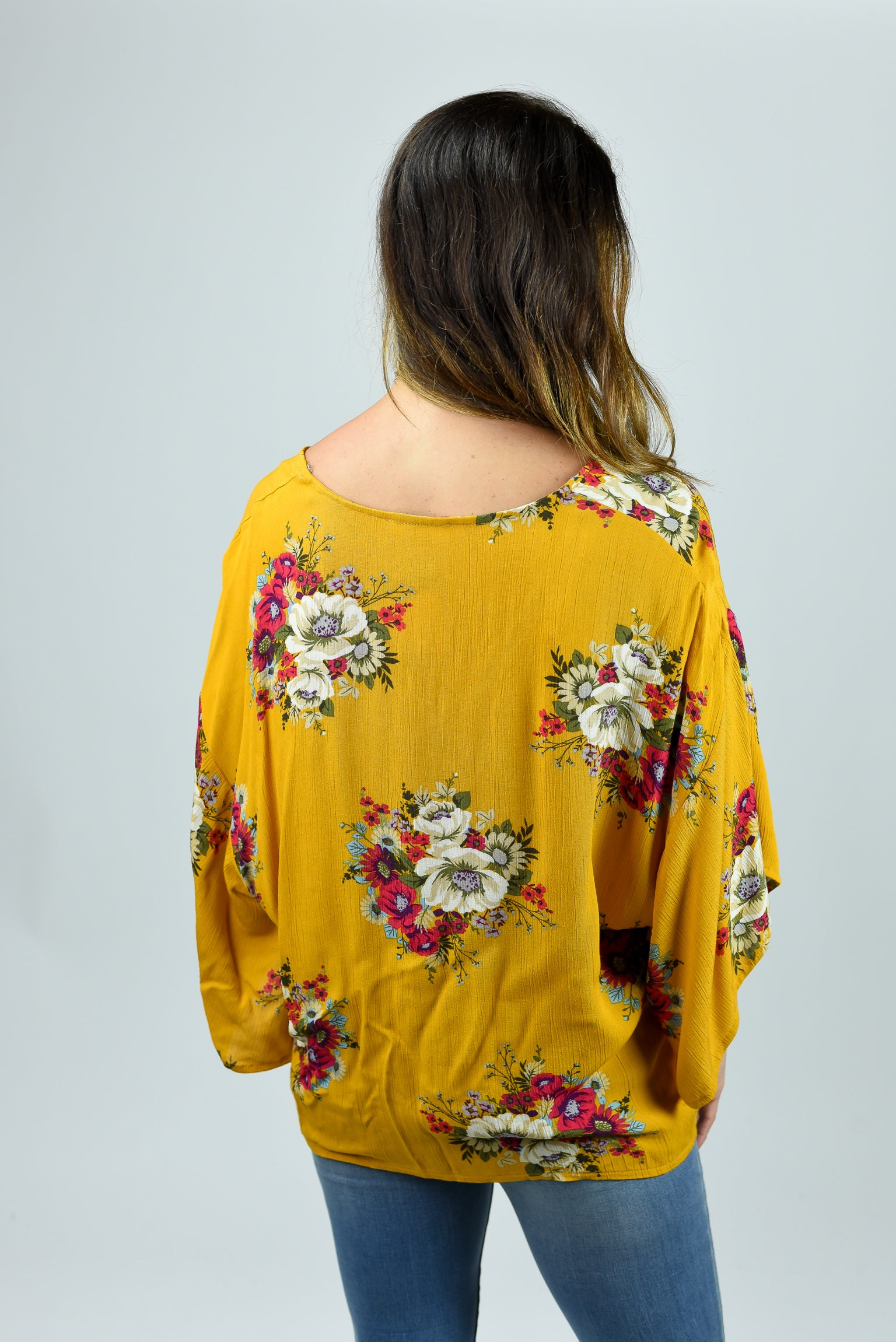 Be Inspired Mustard Floral Tie Top