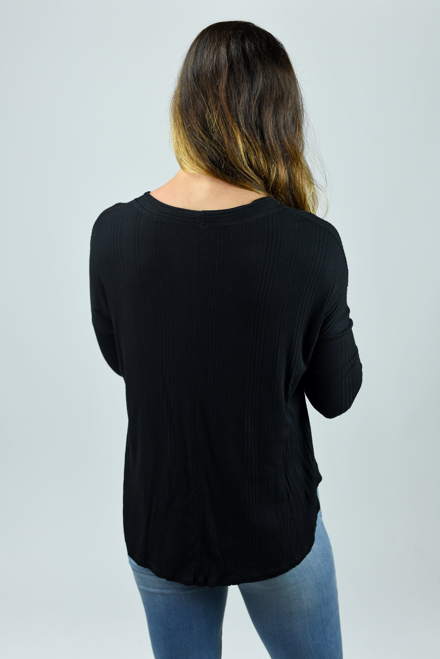 Lend A Hand Black Mini Ribbed Front Tie Long Sleeve