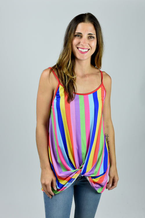 Somewhere Over The Rainbow Front Twist Tank