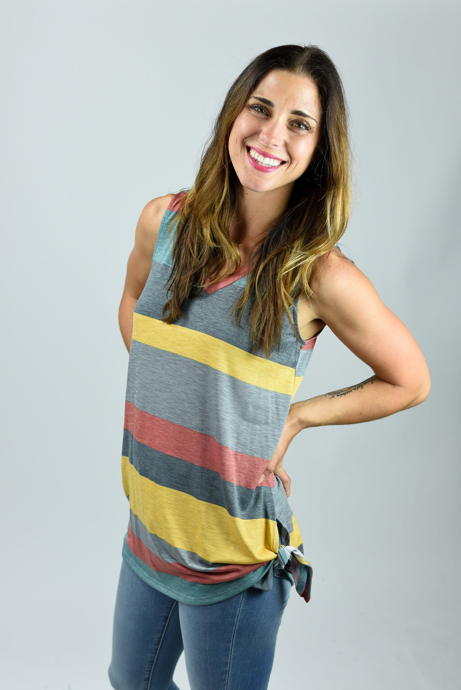 Faded Lights Grey Stripe Tank with Side Tie
