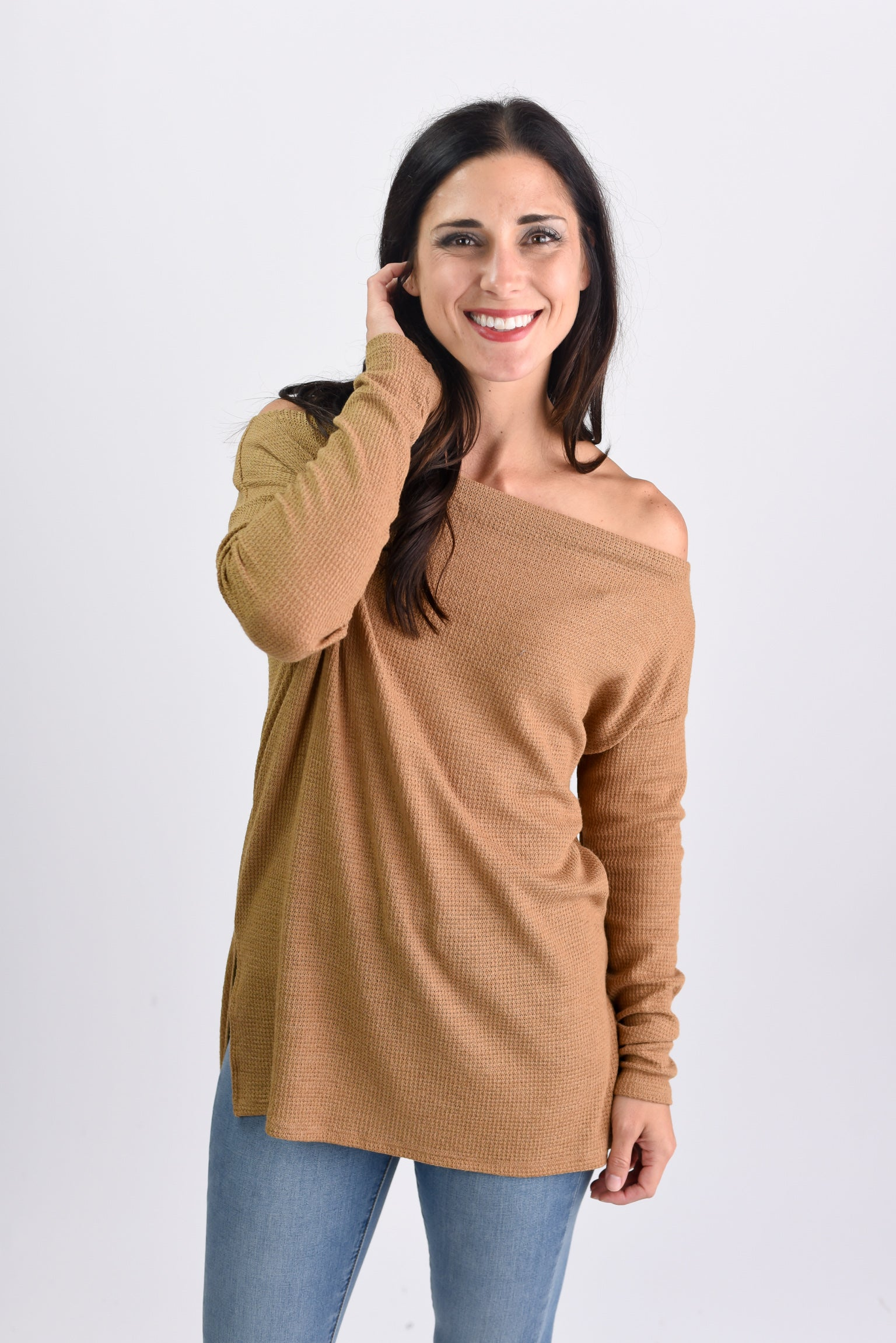 Need No Other Mustard Off Shoulder Waffle Long Sleeve Top