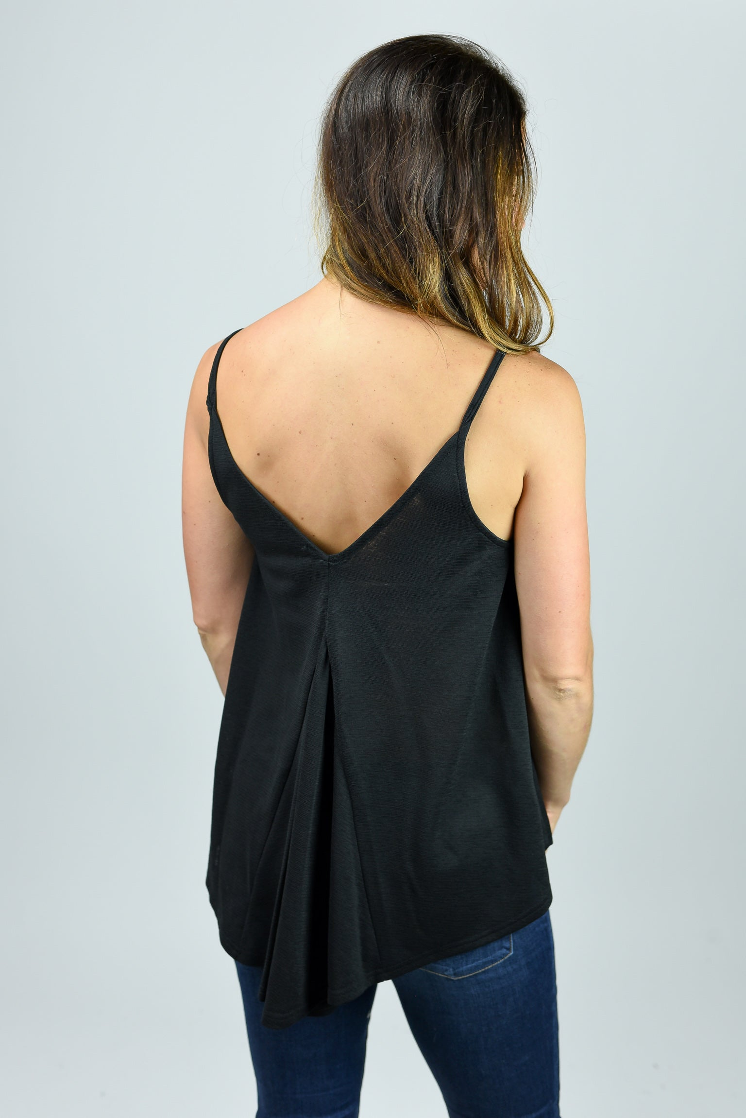 Late Drive Black Double V Flowy Tank