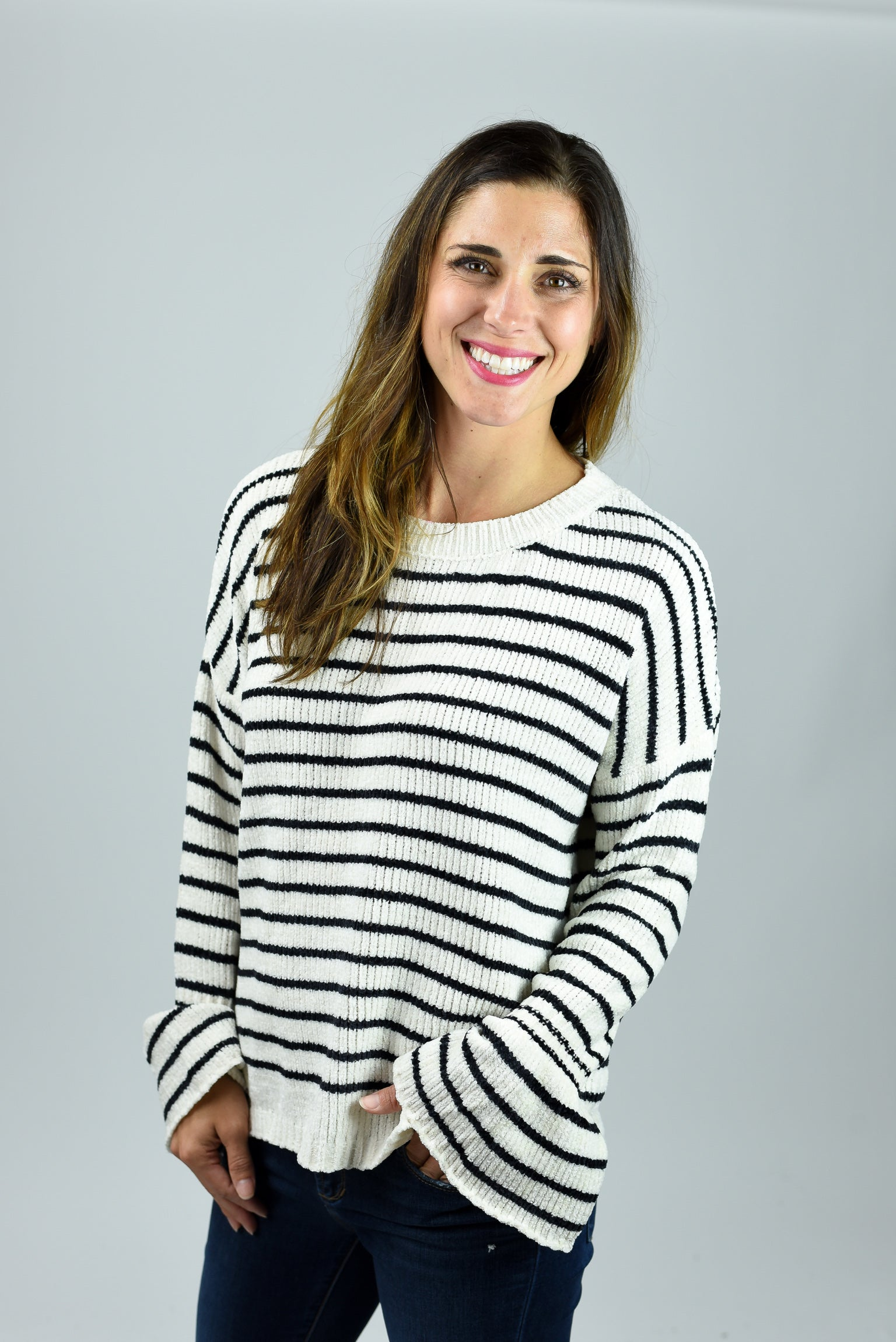 Better Days Ahead Ivory and Black Stripe Sweater