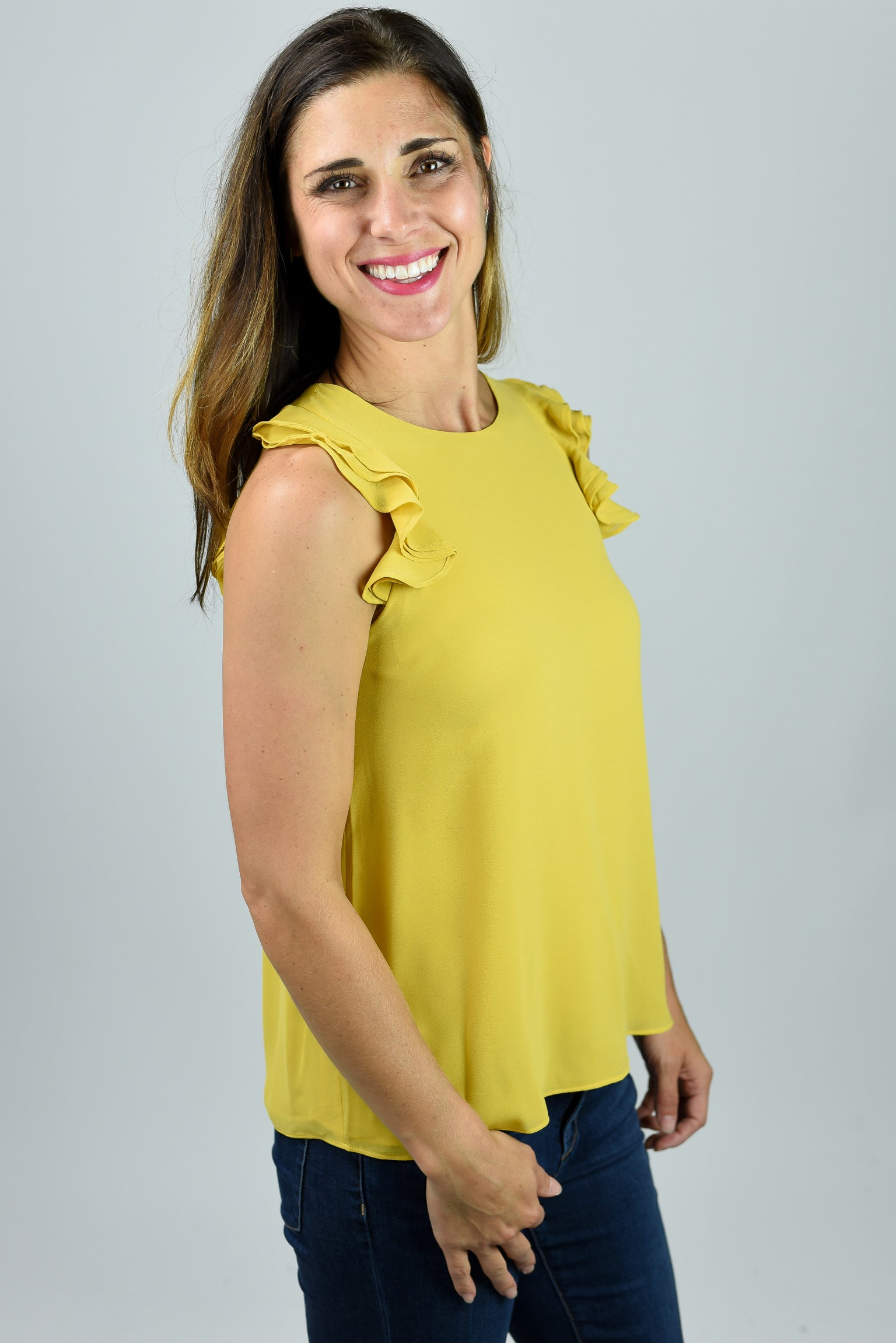 Work Week Ruffle Sleeve Top - Yellow