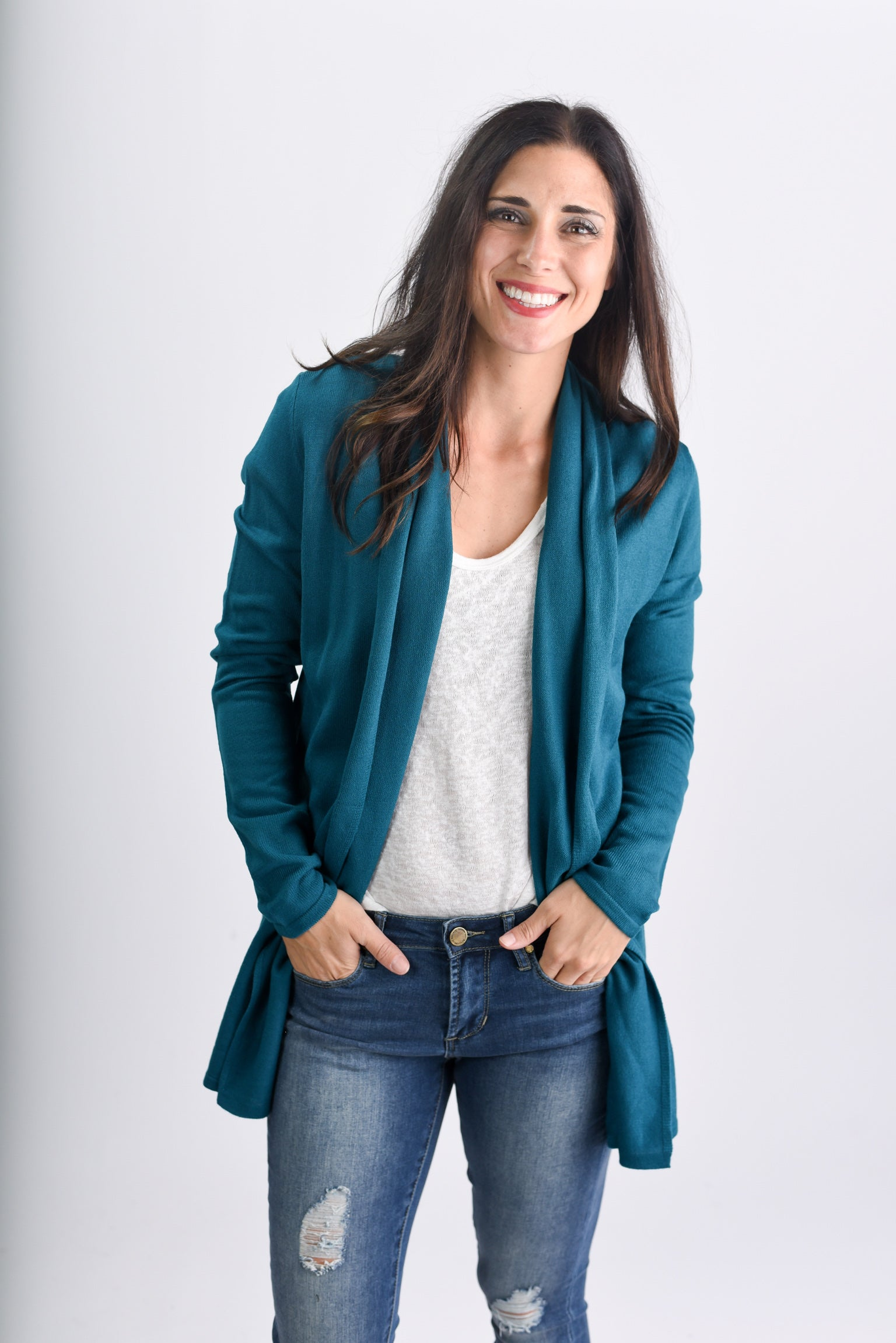 Holding Out For You Lightweight Cardigan- Teal