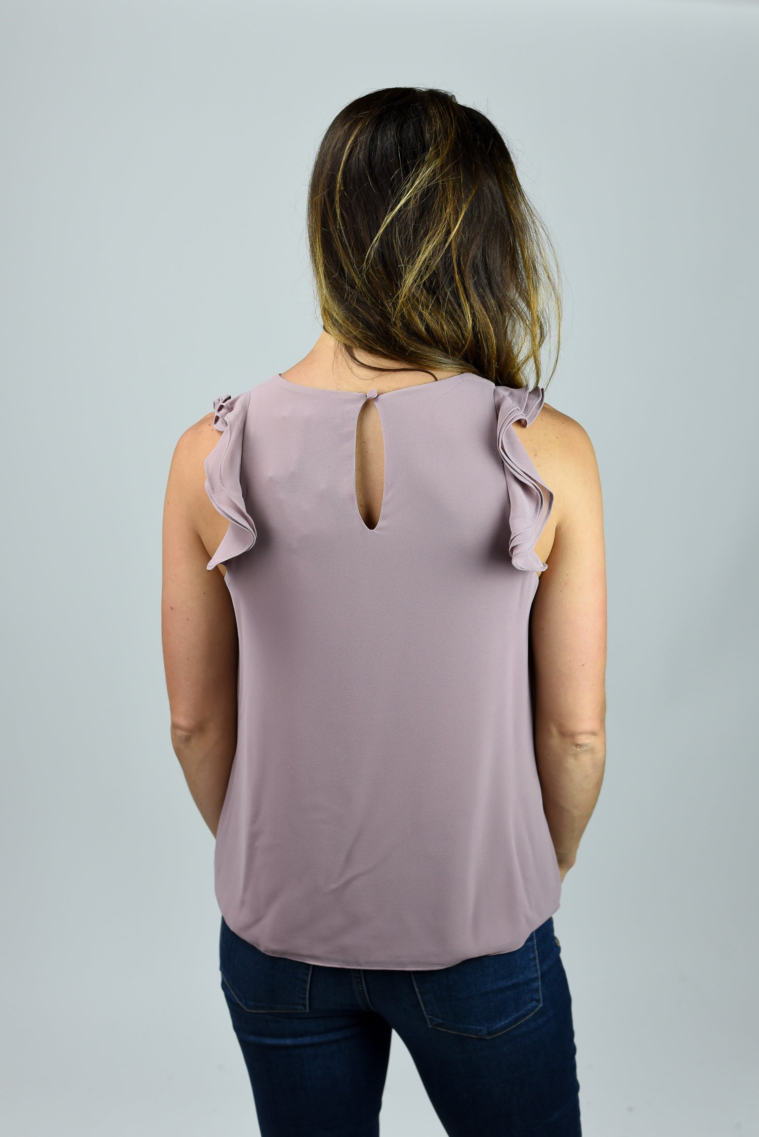 Work Week Ruffle Sleeve Top - Mauve