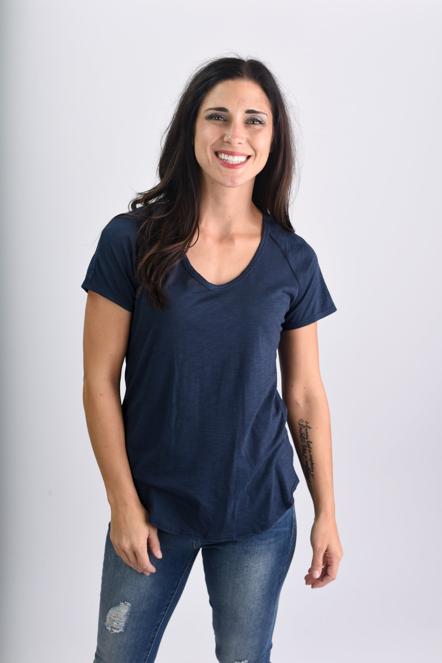 Attention Seeker Basic Scoop Neck Tee-Navy