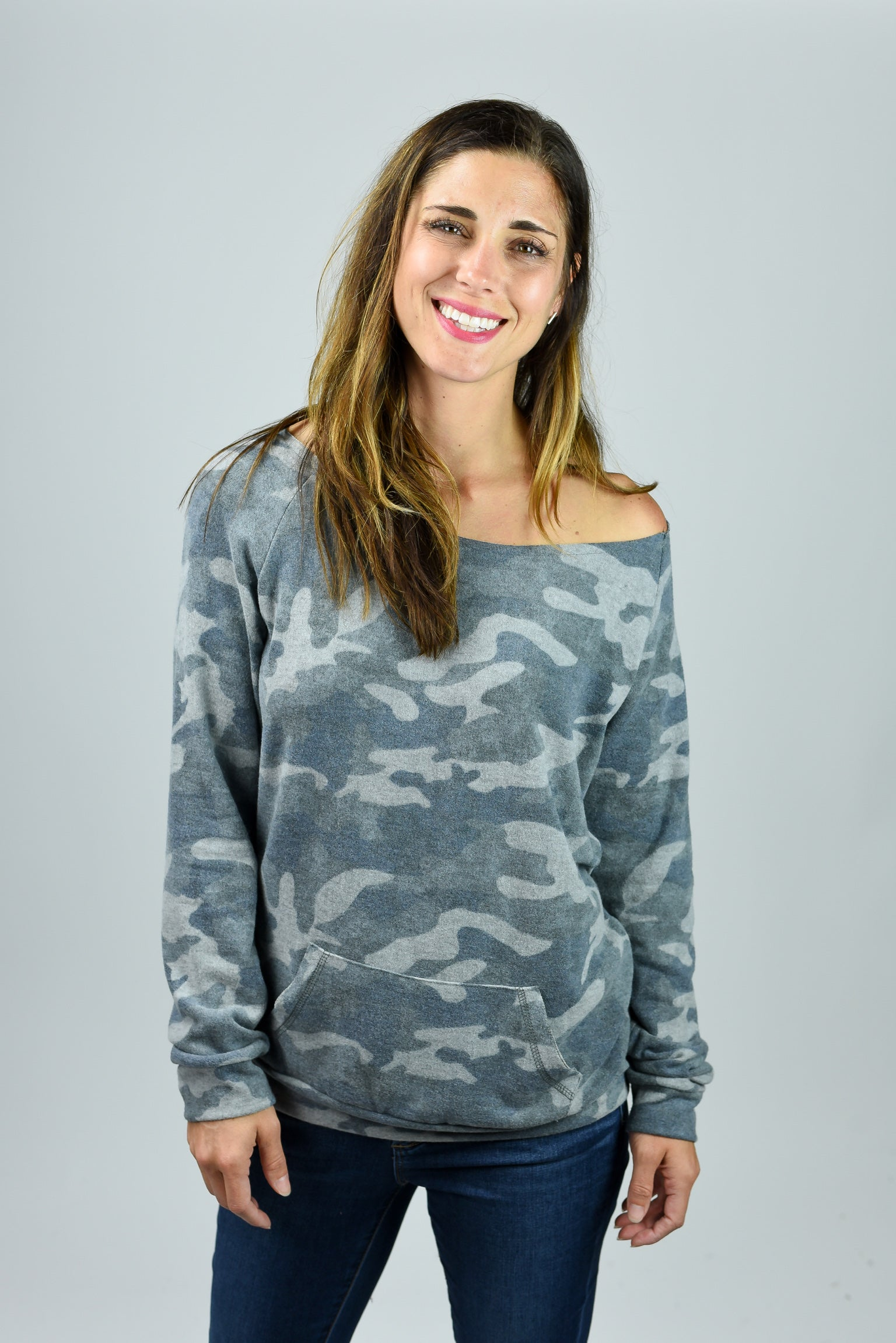 Give It A Try Camo Off Shoulder Long Sleeve