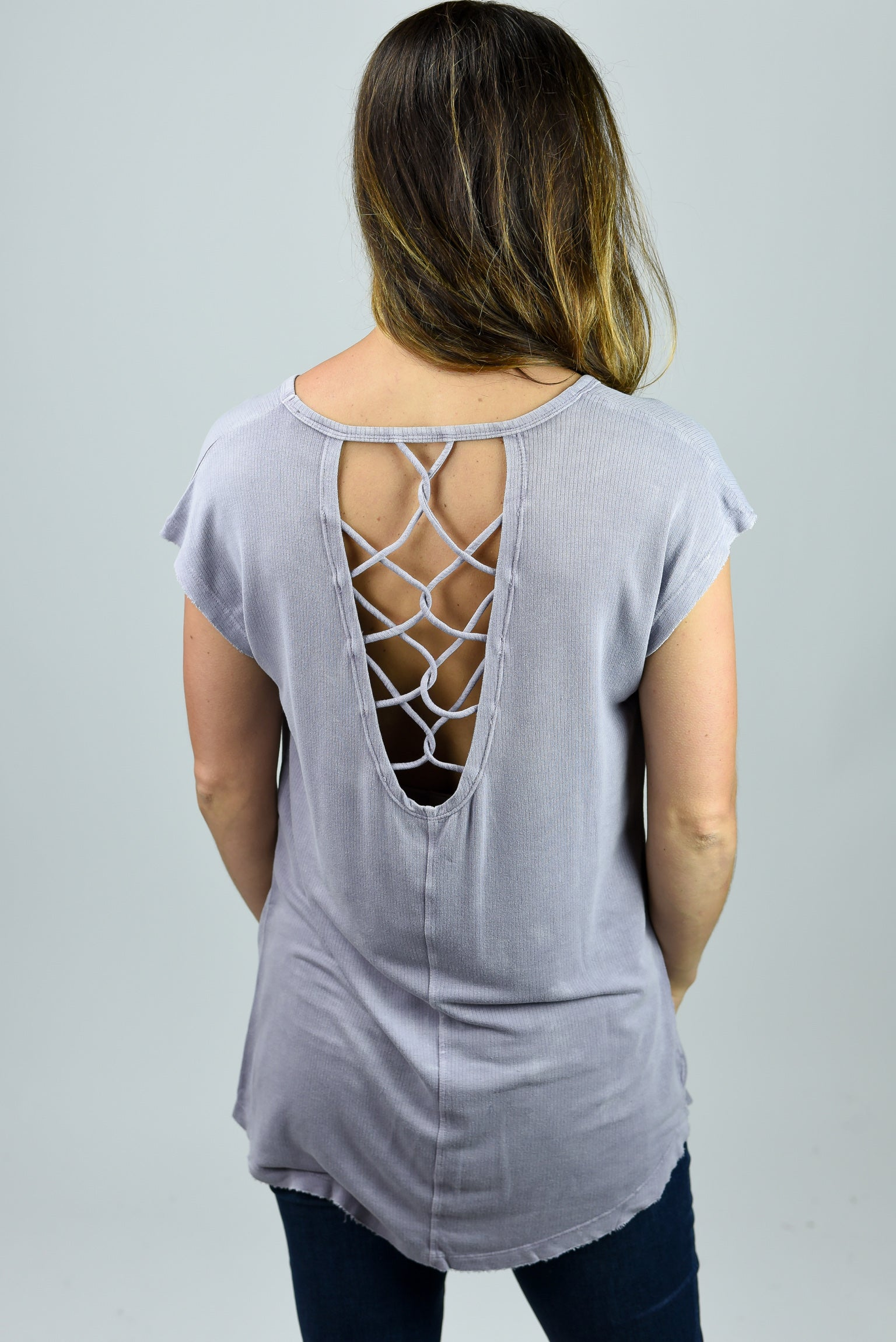 Play It Back Lattice Detail Top- Lavender