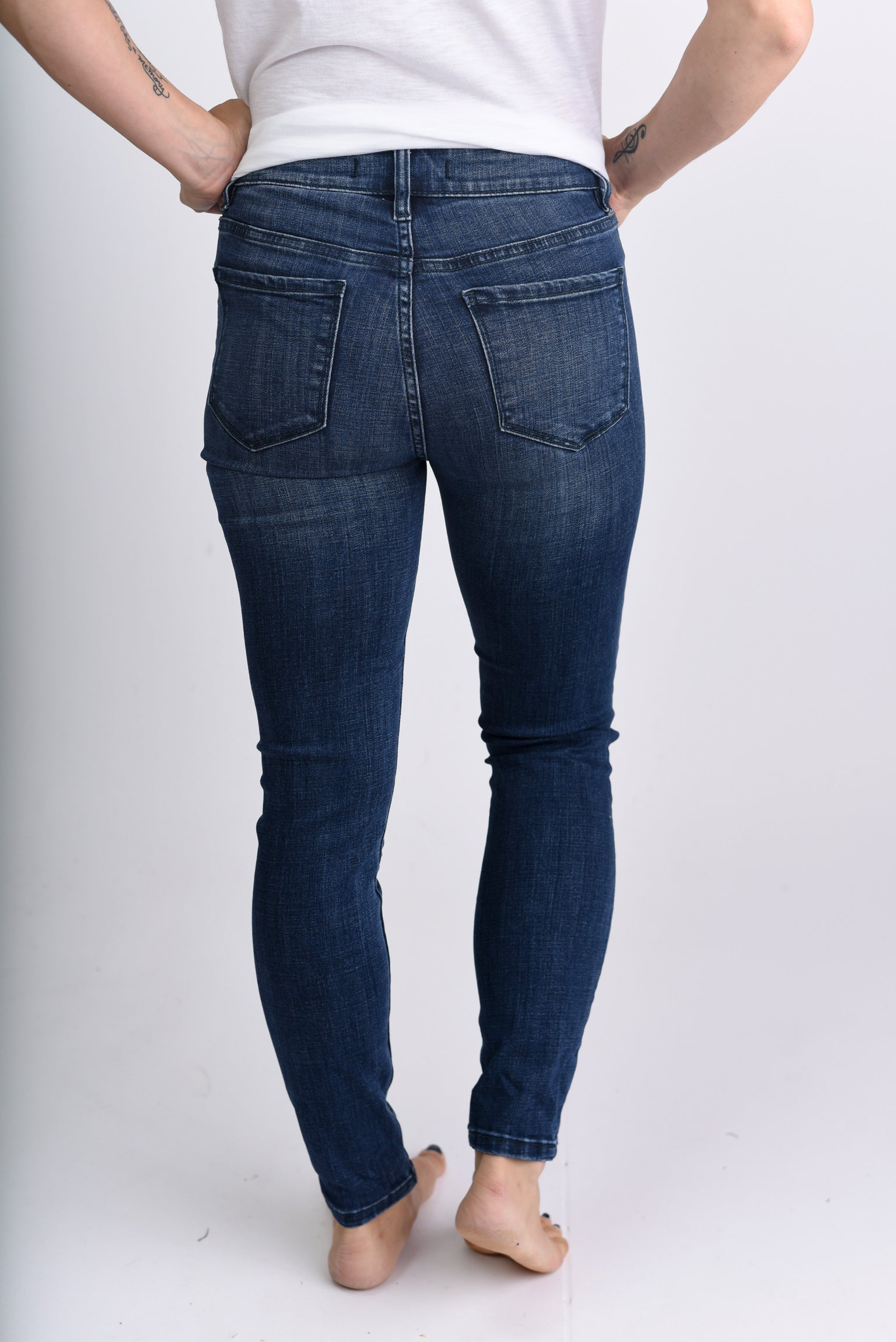 You're Free To Rise Lightly Distressed Dark Wash Skinny Jeans