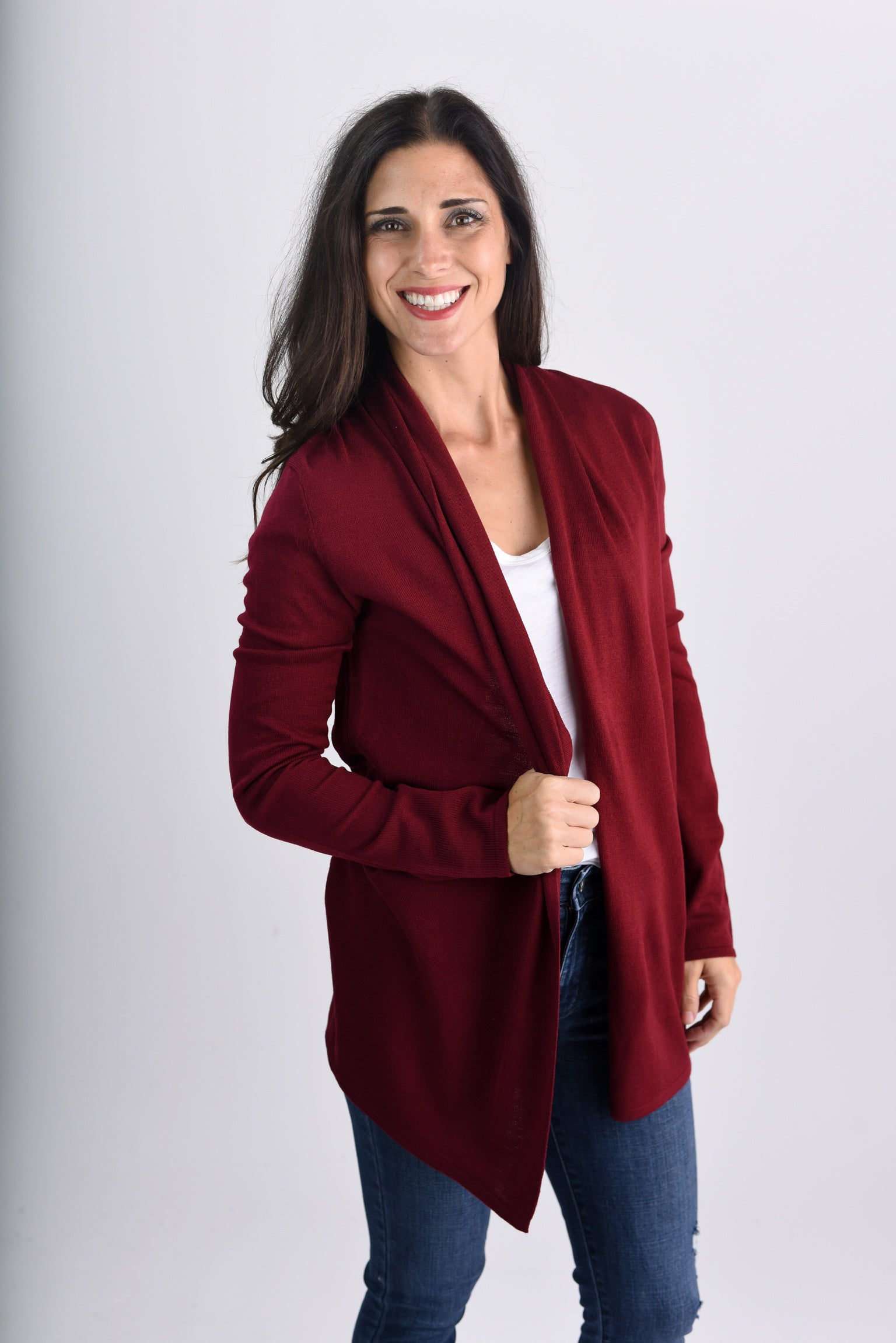 Holding Out For You Lightweight Cardigan- Burgundy
