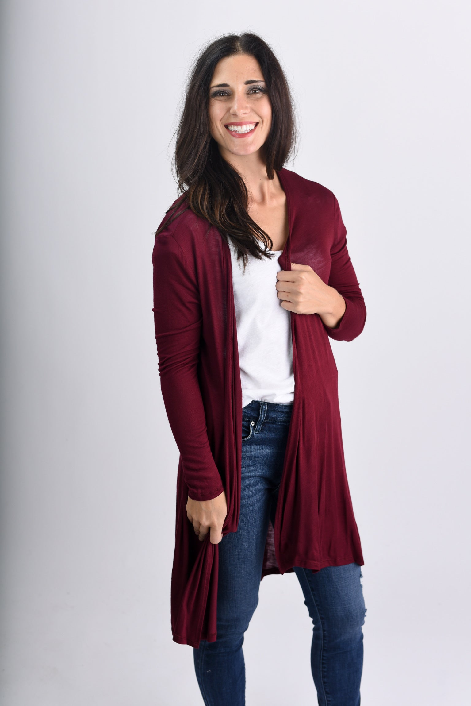 Anything Is Possible Midi Lightweight Cardigan- Burgundy