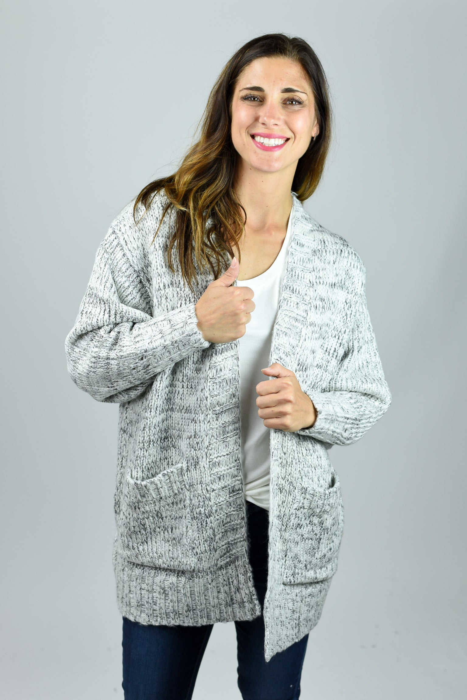 Get It Right Ivory and Black Heathered Pocket Cardigan
