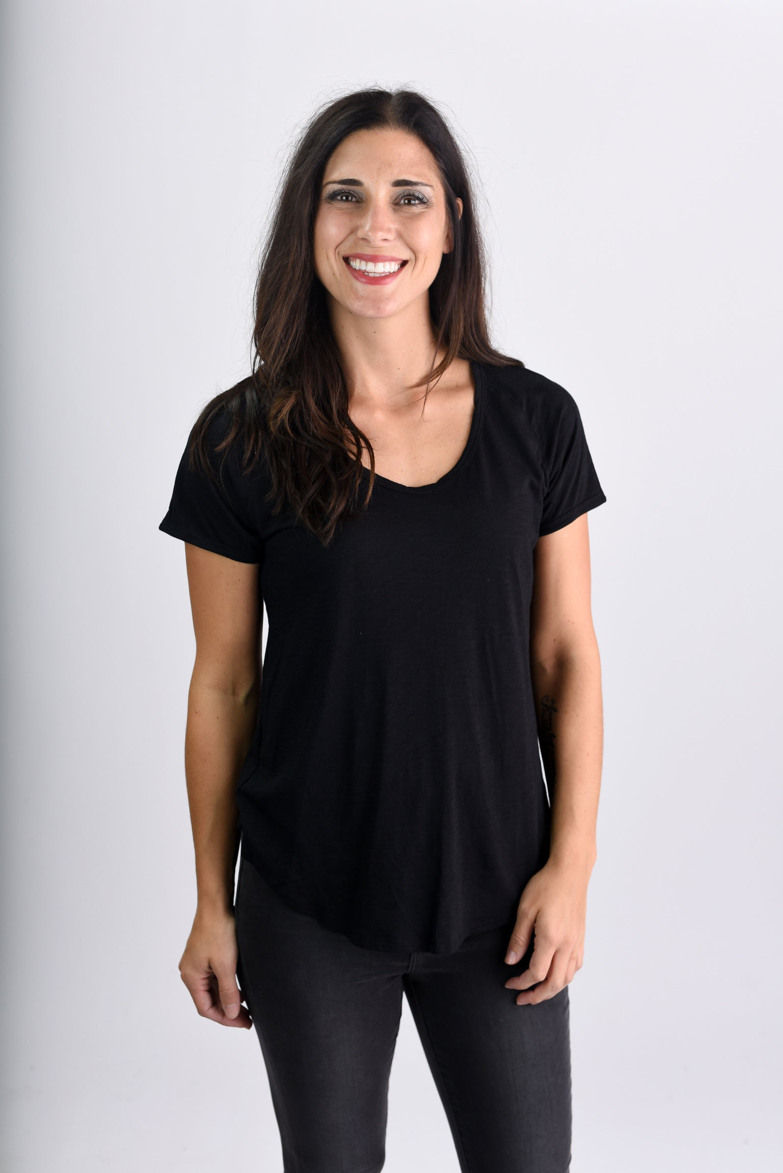 Attention Seeker Basic Scoop Neck Tee- Black