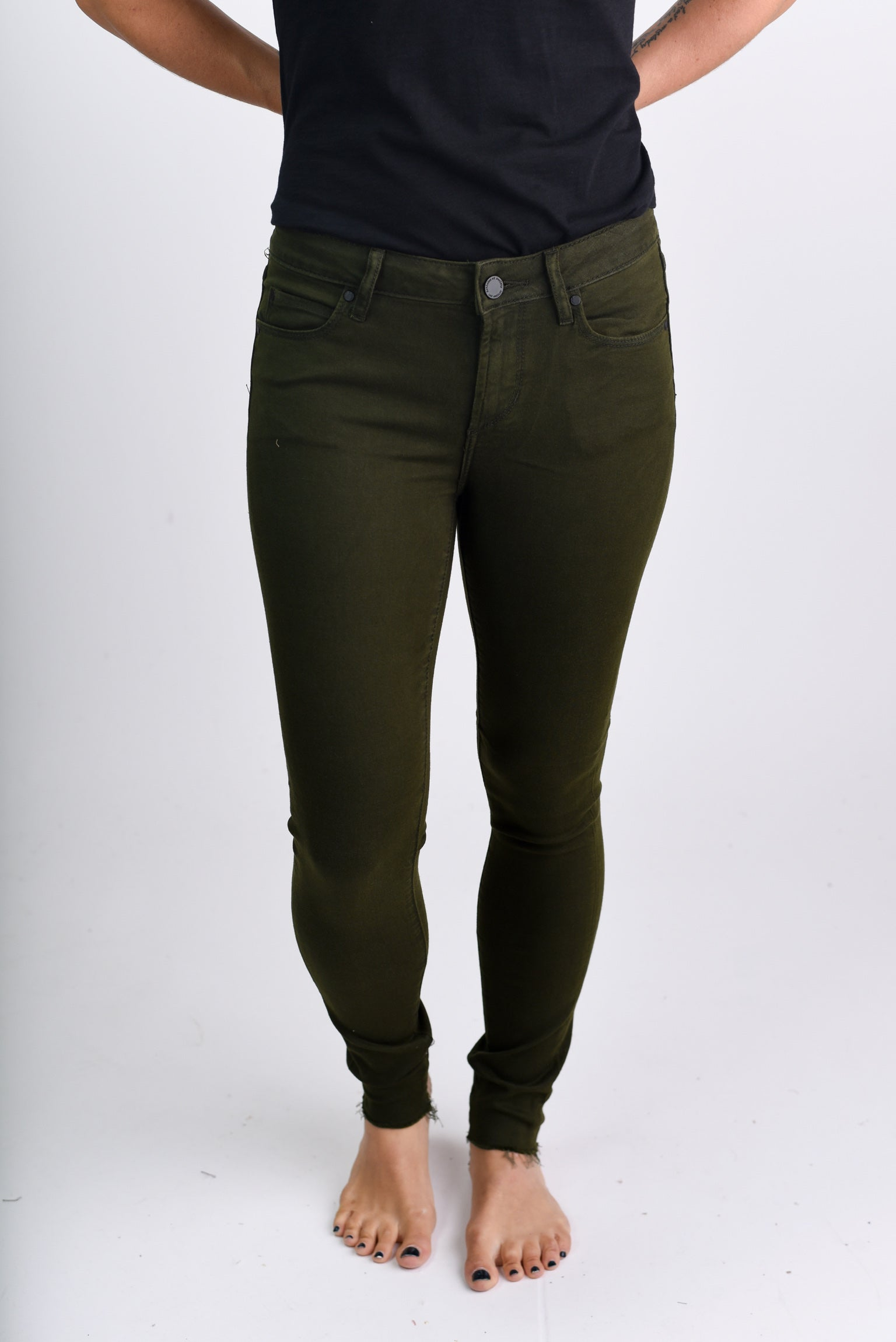 Autumn Glow Olive Ankle Non Distressed Skinny Jeans