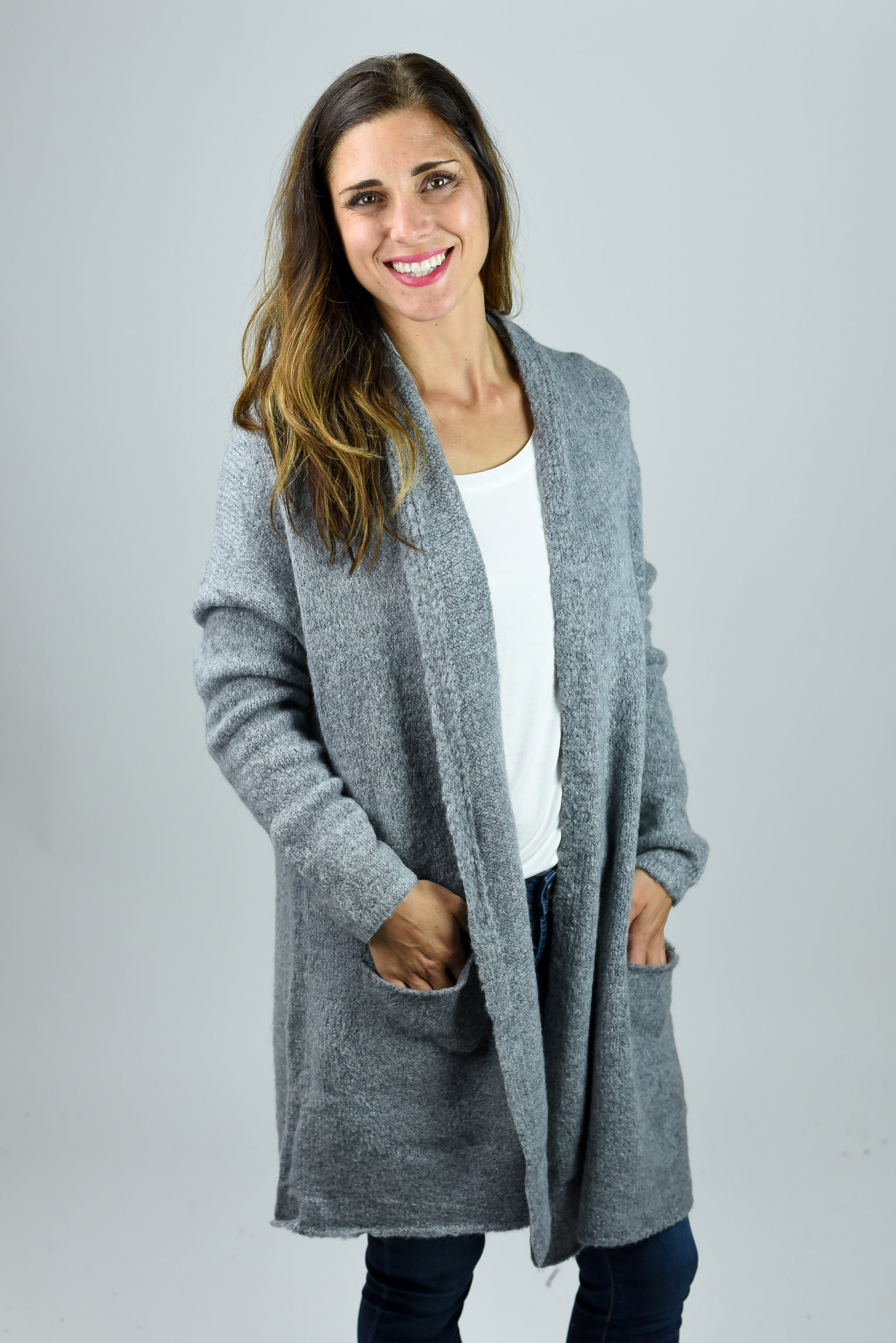 Miles Apart Super Soft Cardigan - Heather Grey