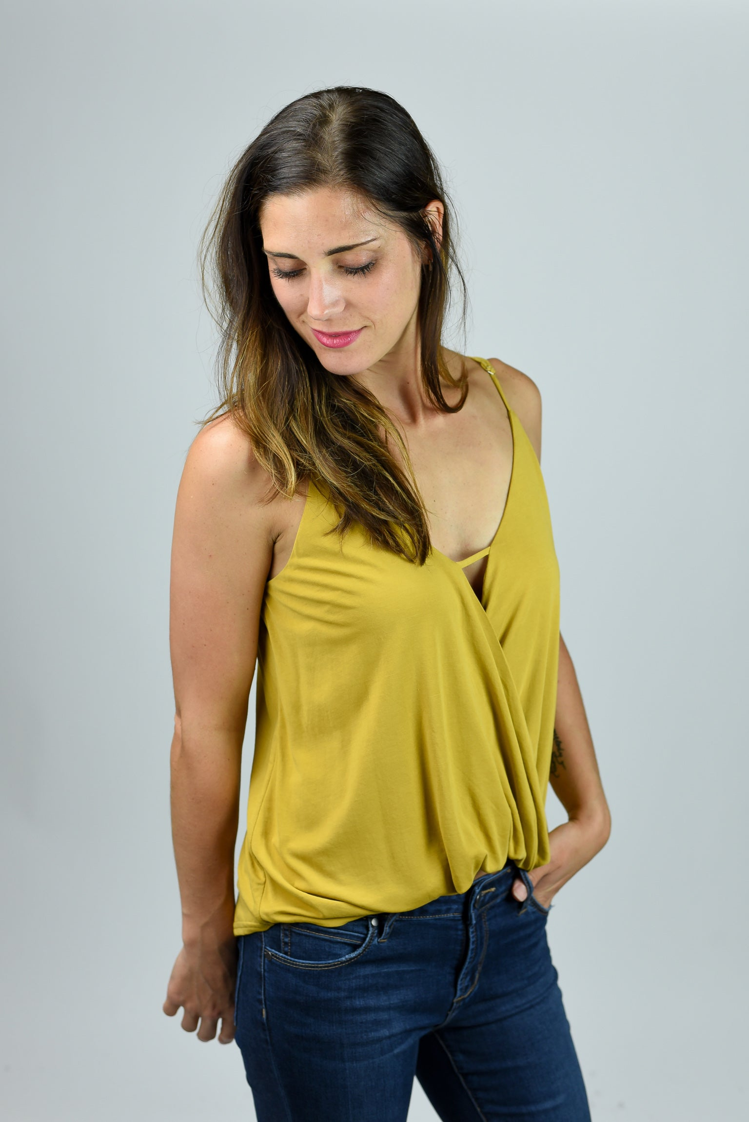 Short Beginnings Front Drape Tank - Mustard