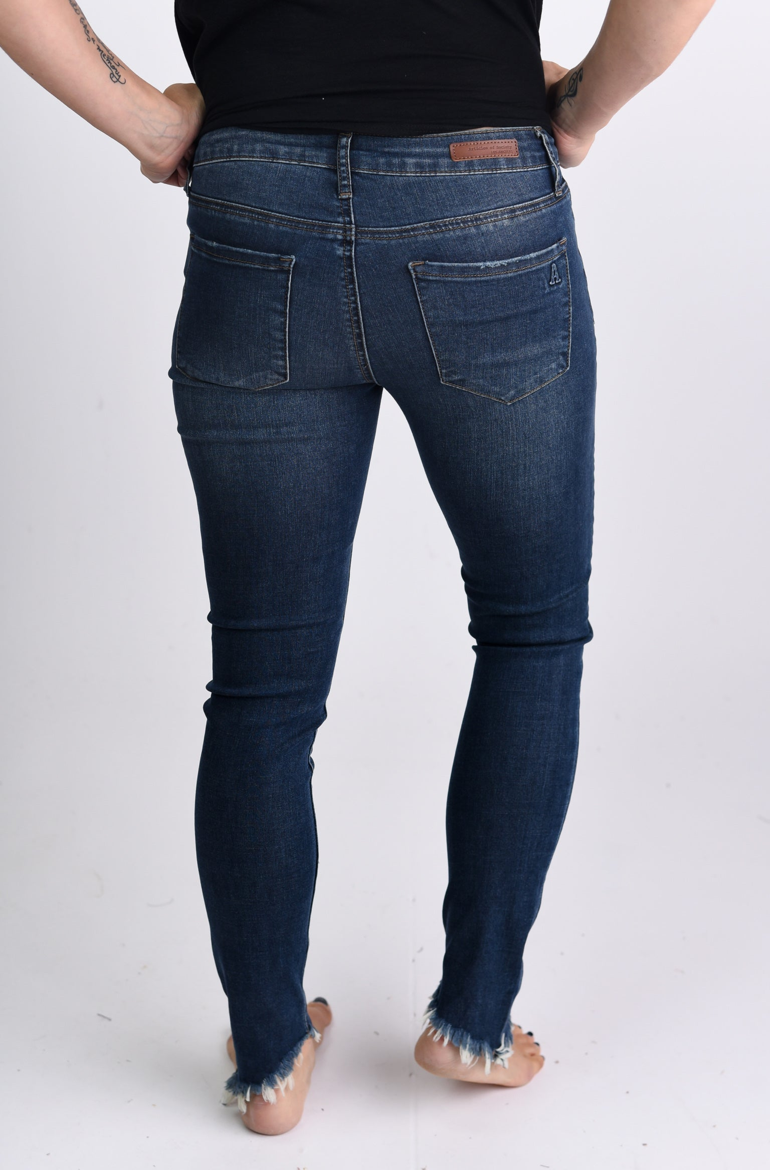 Bring Your Friends Step Hem Dark Wash Skinny Jeans