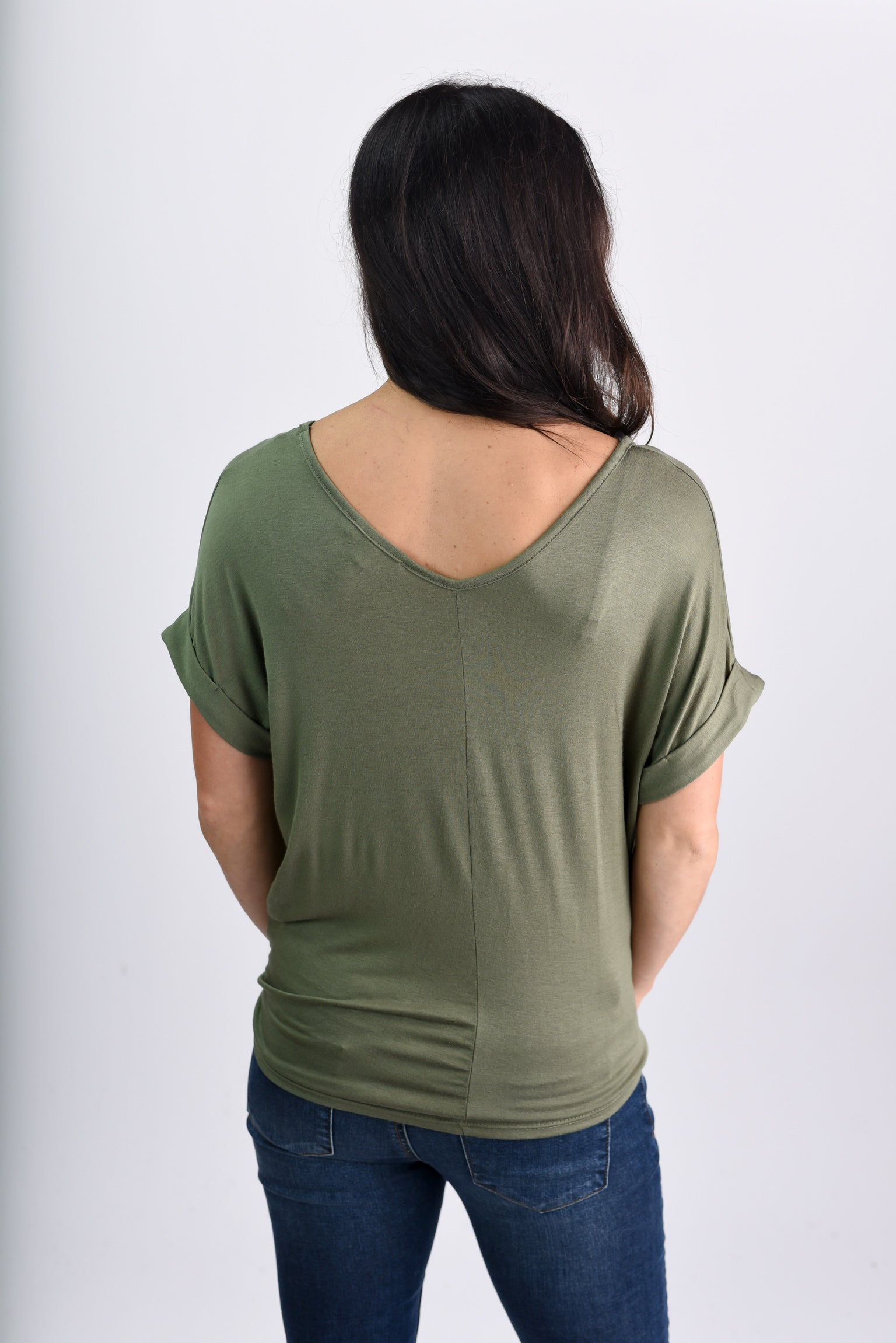 On The Double Olive Front Knot Rolled Sleeve Tee