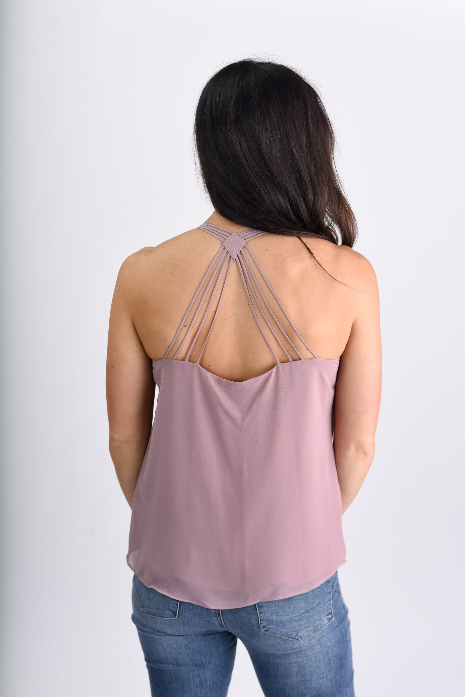 Don't Look Back Strappy Cami - Mauve