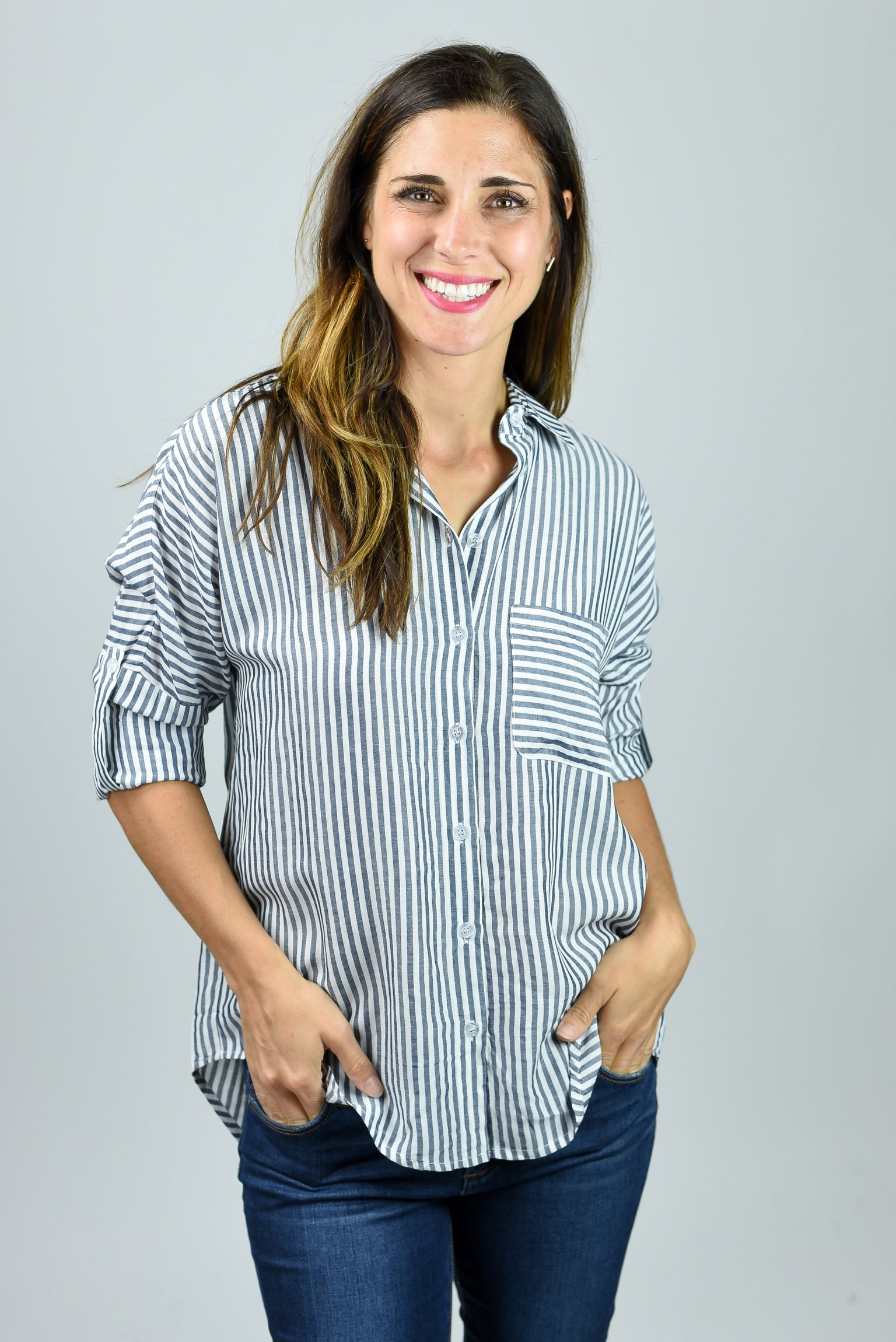 Once More Blue Stripe Button Down Top