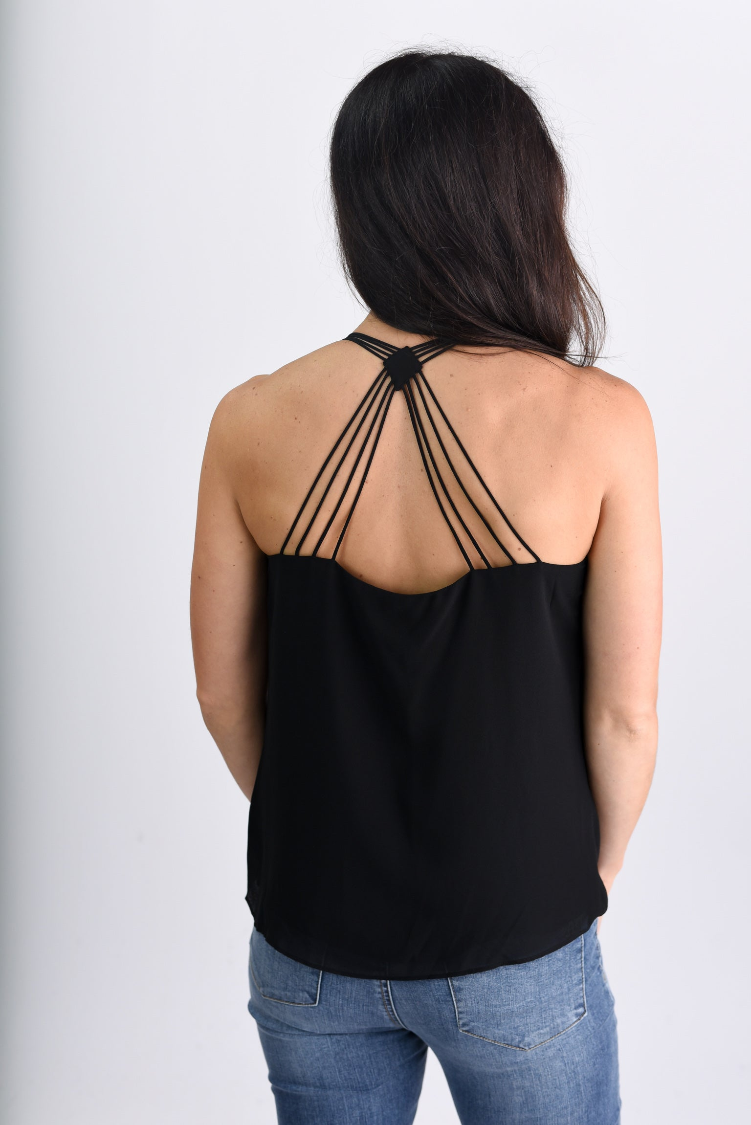 Don't Look Back Strappy Cami - Black
